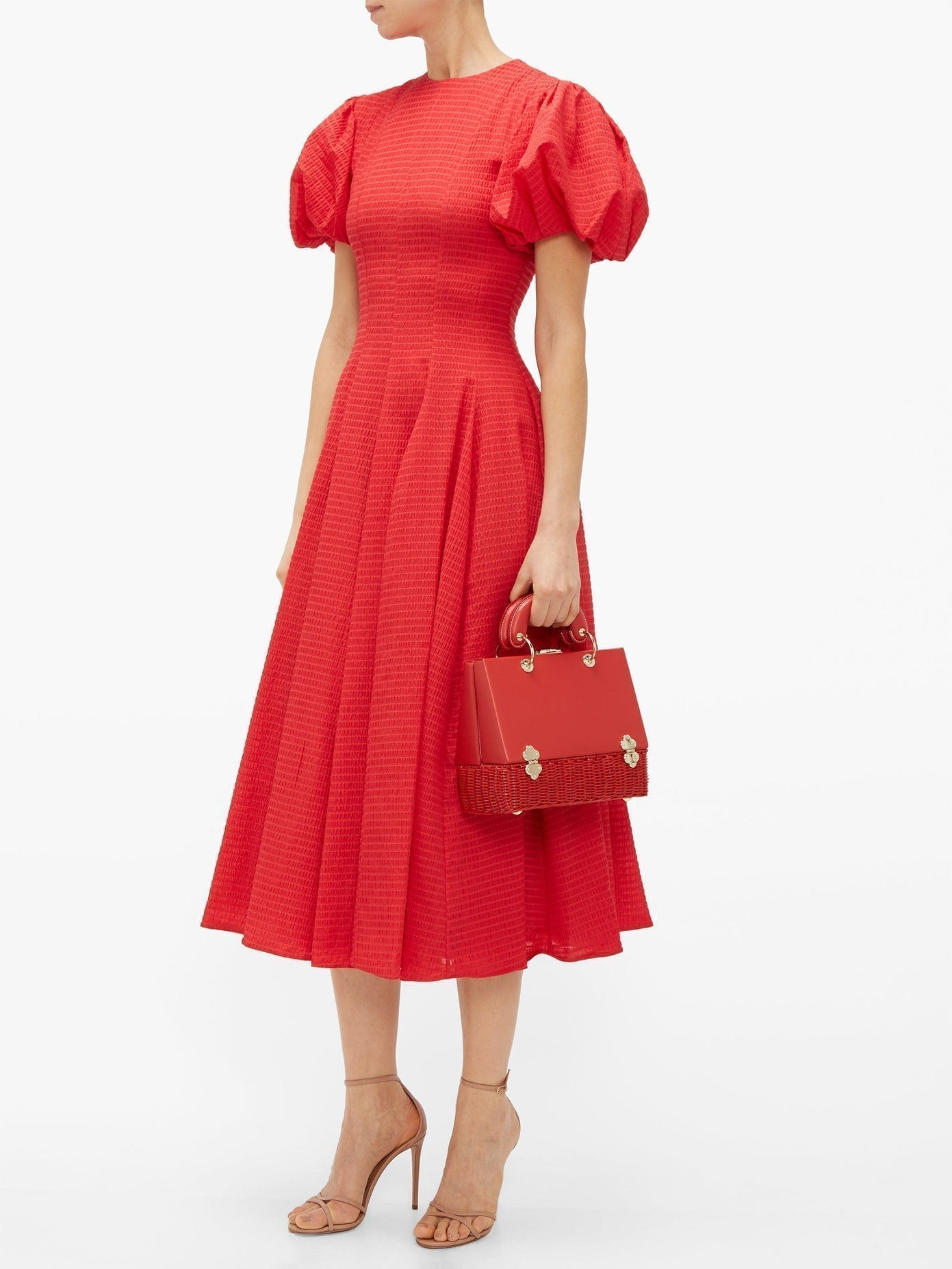 EMILIA WICKSTEAD Doreen Puff-sleeve Seersucker Dress