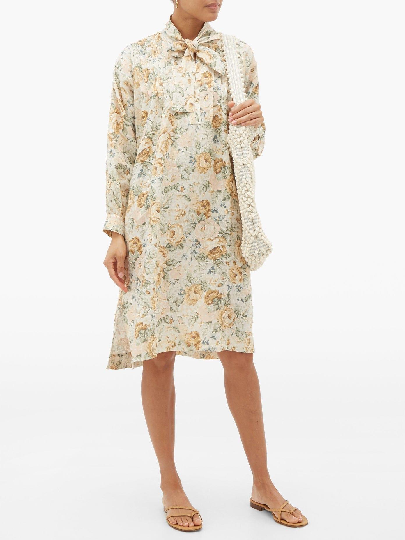 EPHEMERA Tie-neck Floral-print Linen Dress