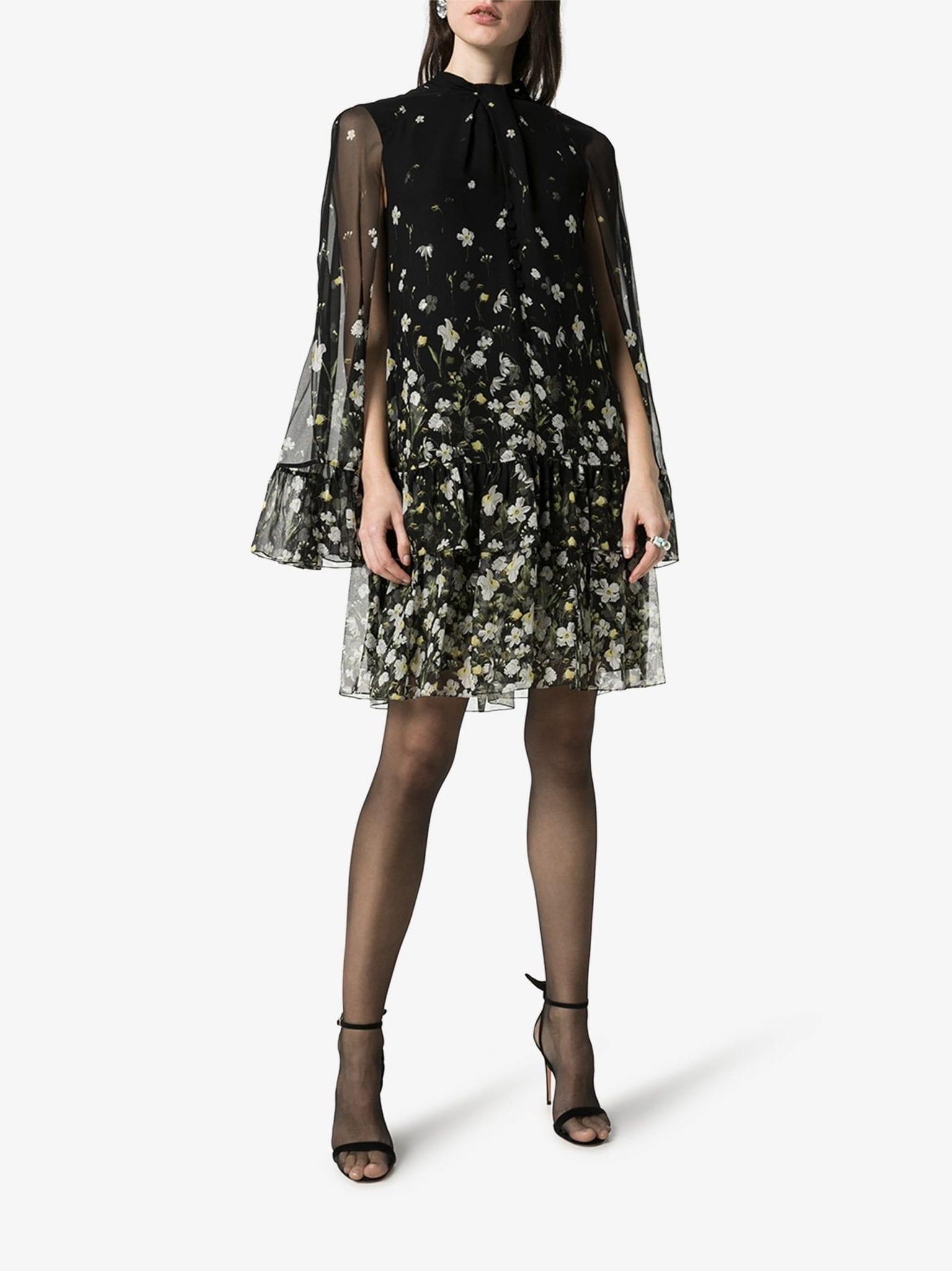 ERDEM Concetta Tiered Hem Cape Dress