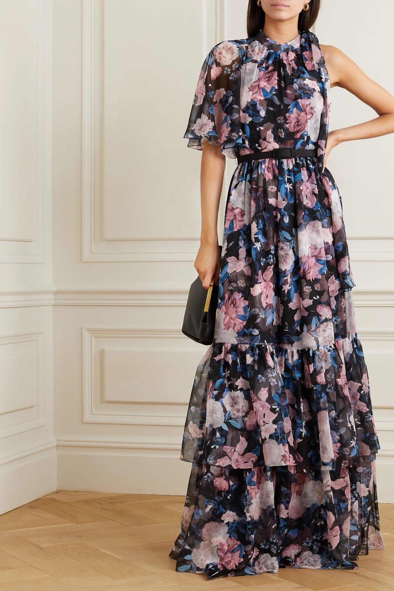 ERDEM Natalina One-sleeve Floral-print Silk-voile Gown