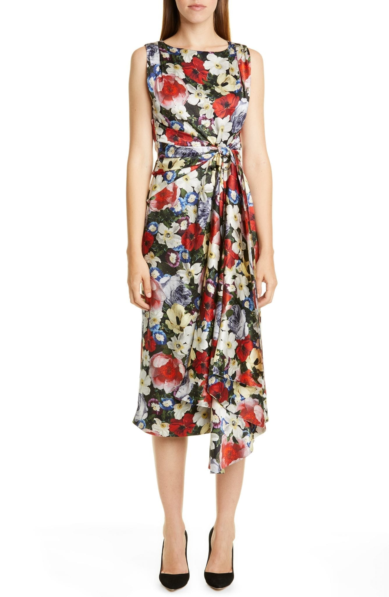 ERDEM Poppy Collage Floral Silk Sleeveless Midi Dress