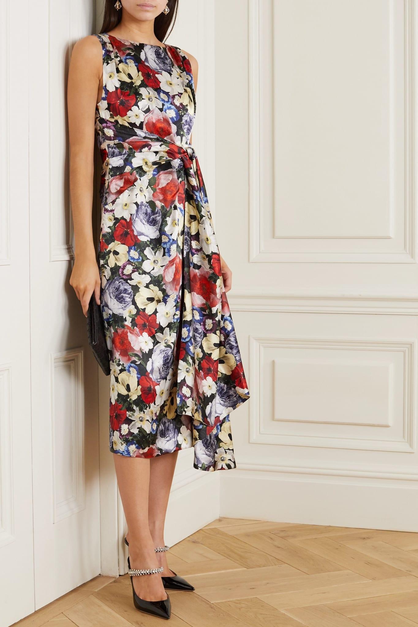 ERDEM Rozaria Gathered Floral-print Silk-satin Midi Dress