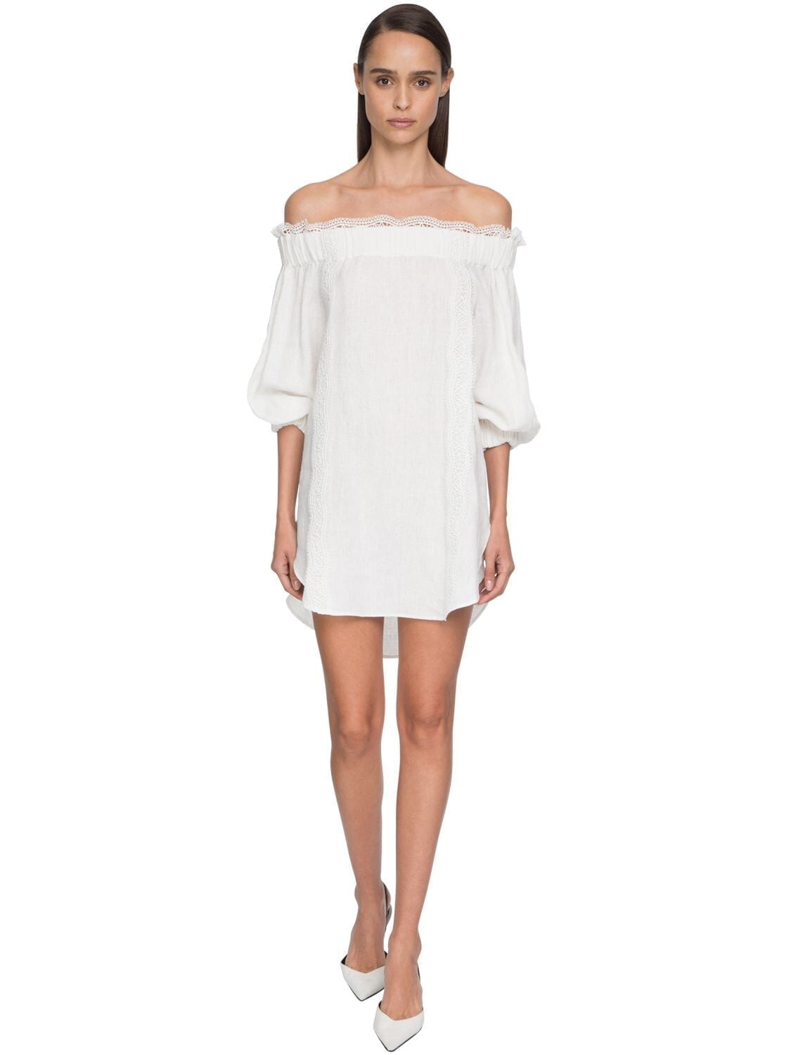 ERMANNO SCERVINO Off-the-shoulder Linen & Lace Mini Dress
