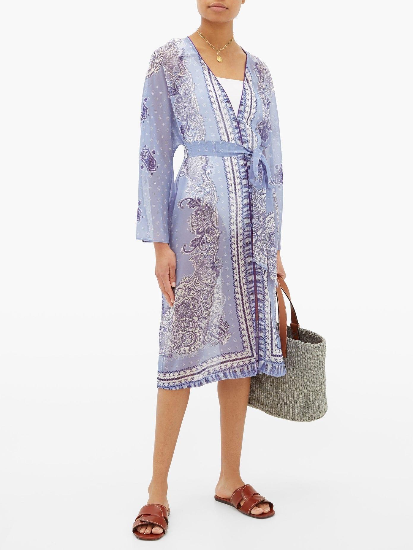 ETRO Belted Paisley-print Georgette Kaftan Dress