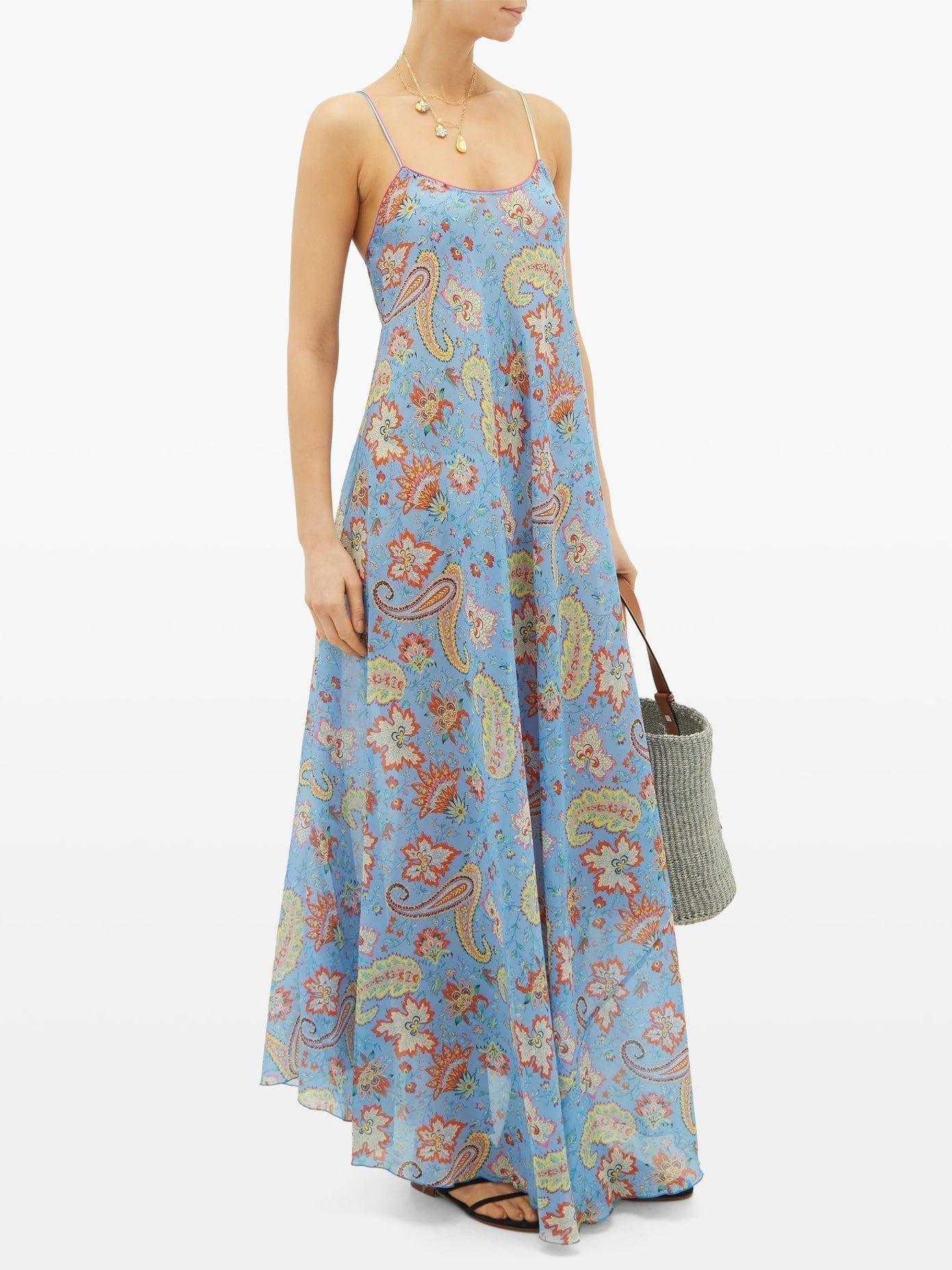 ETRO Crossover-strap Paisley-Print Silk Maxi Dress