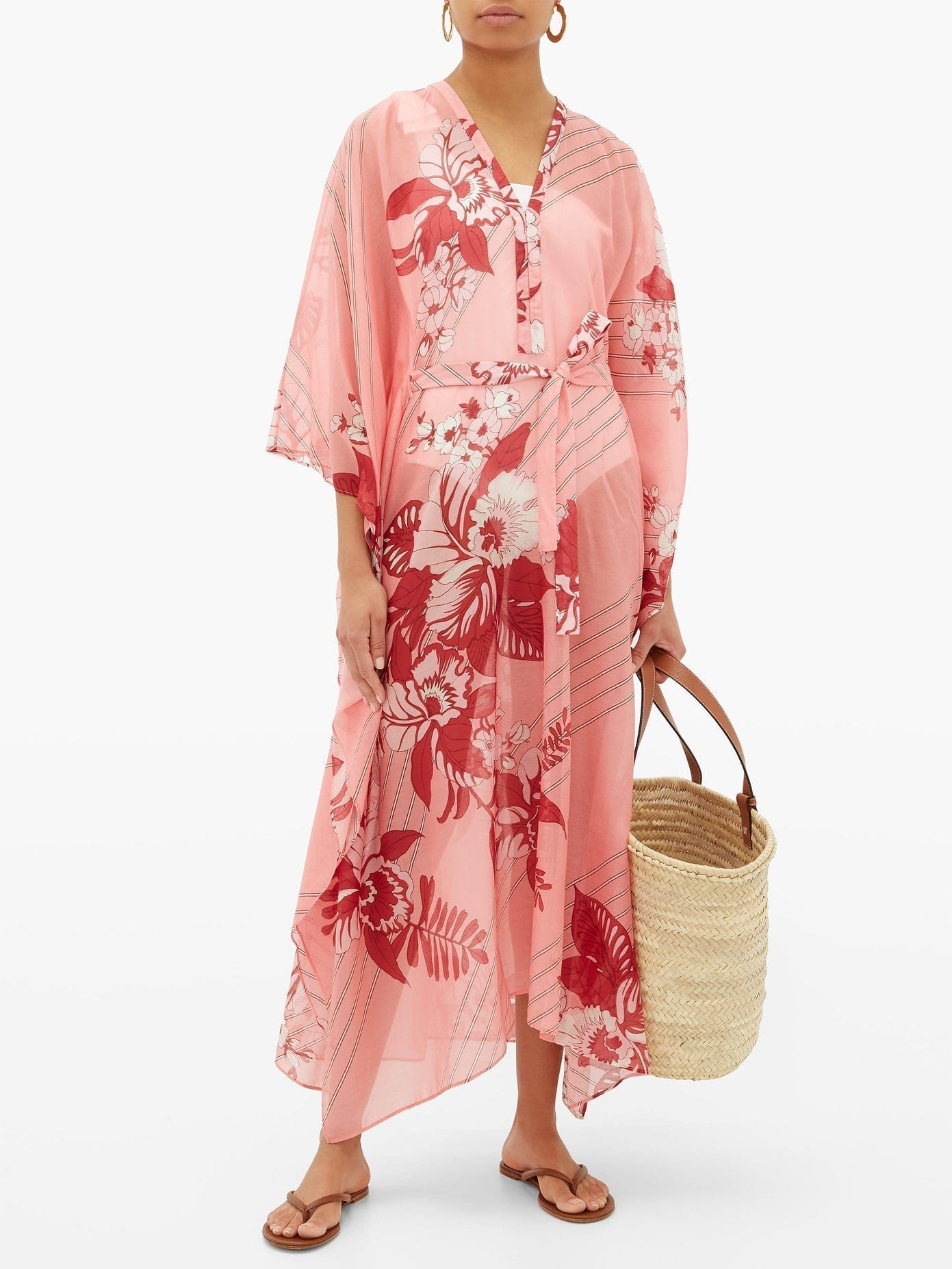 ETRO Floral-print Tie-waist Cotton-blend Kaftan Dress