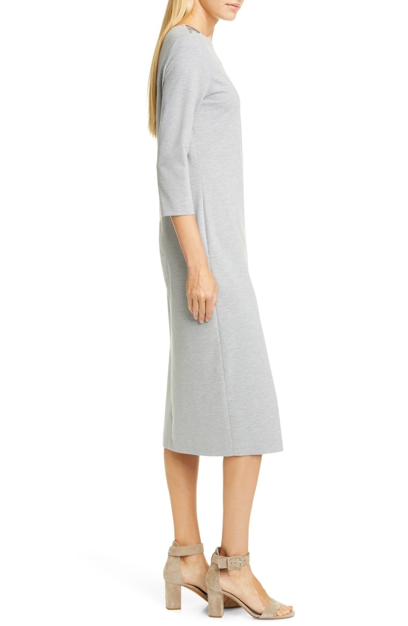 FABIANA FILIPPI Brilliant Bead Shoulder Midi Sheath Dress