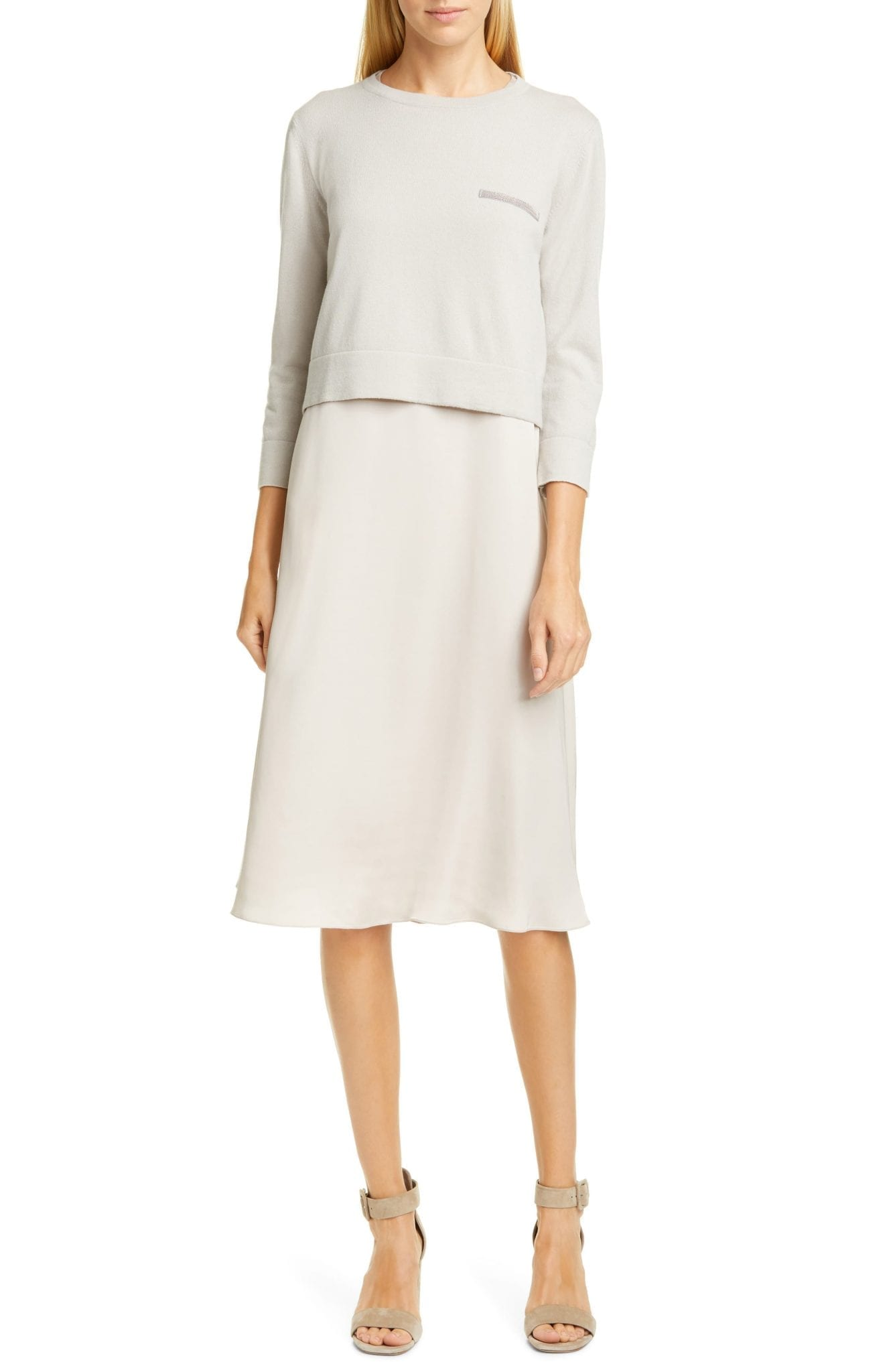 FABIANA FILIPPI Embellished Cashmere Sweater Crepe Dress