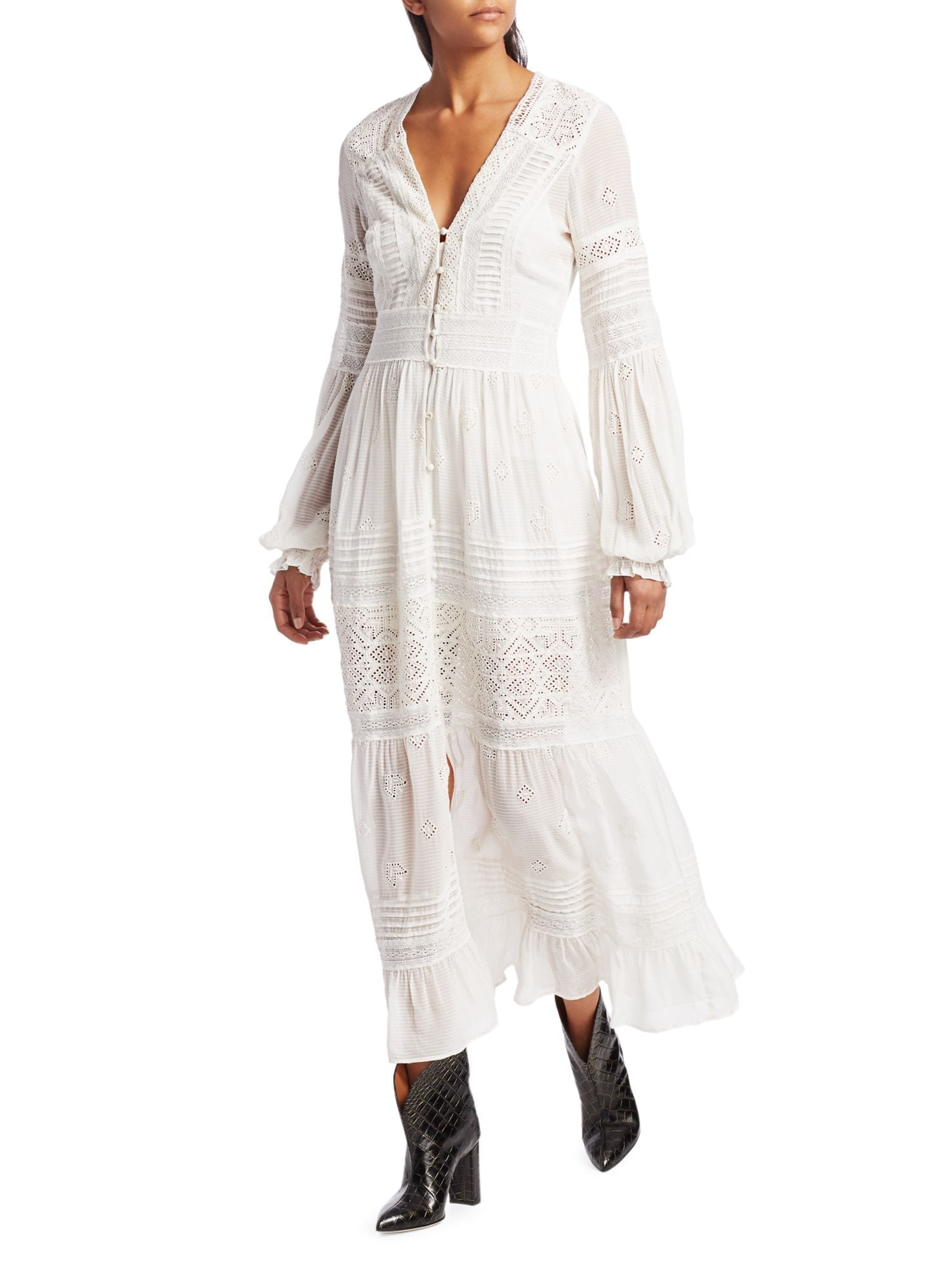 FREE PEOPLE Lisa Lace Eyelet Midi Shirt Dress