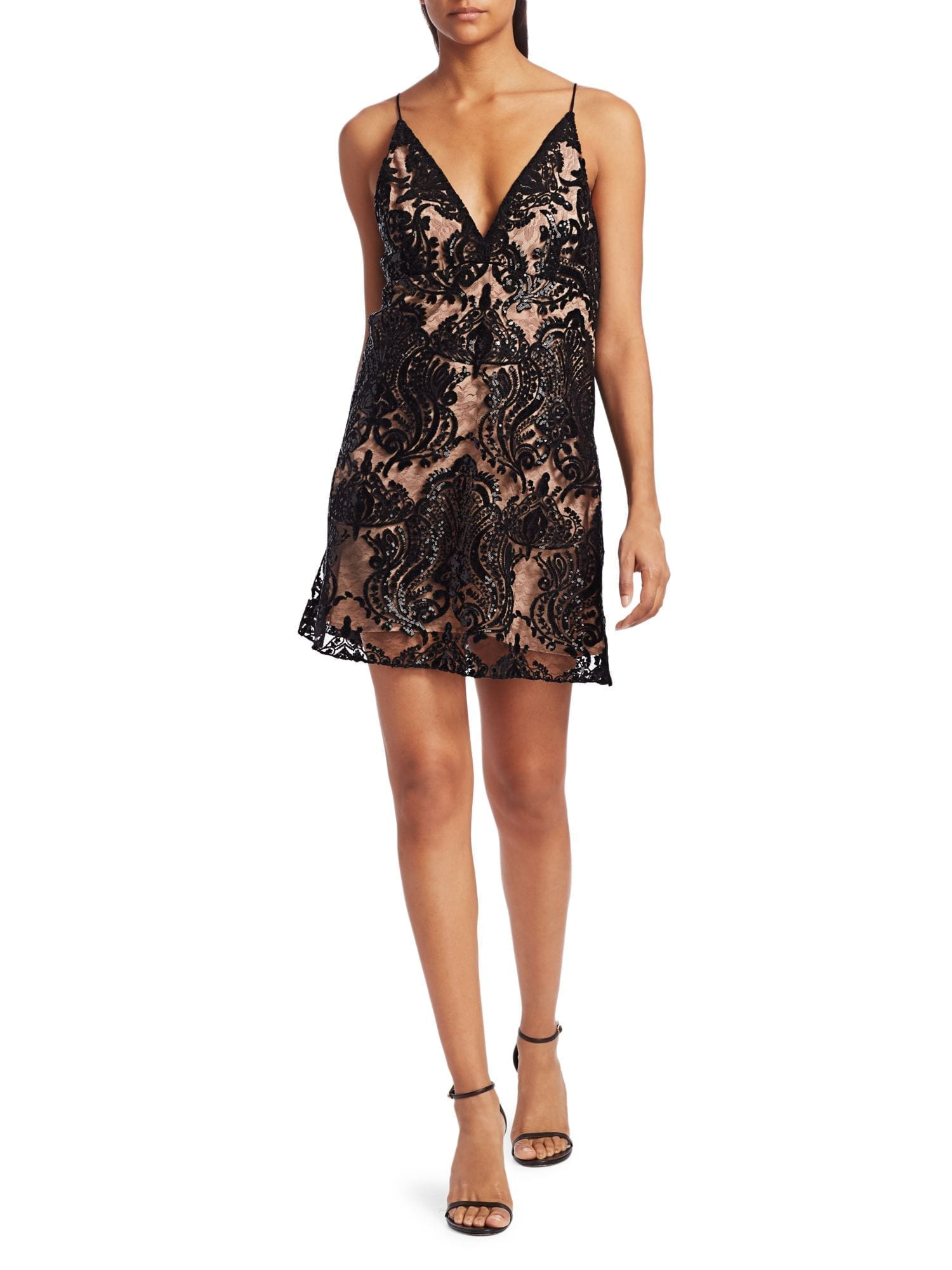 FREE PEOPLE Night Shimmers Embellished Mini Dress