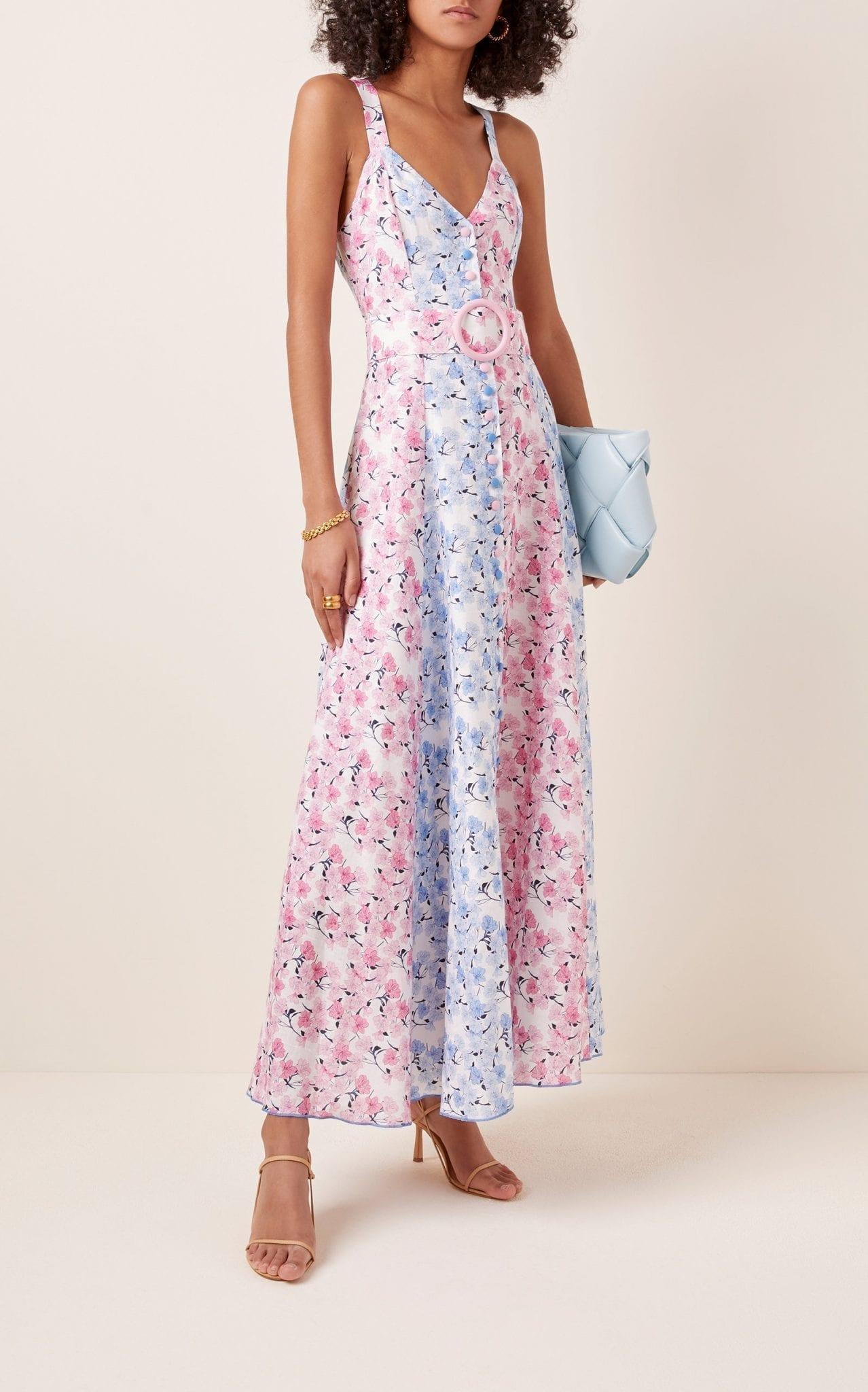 GÜL HÜRGEL Printed Belted Floral-Print Midi Dress