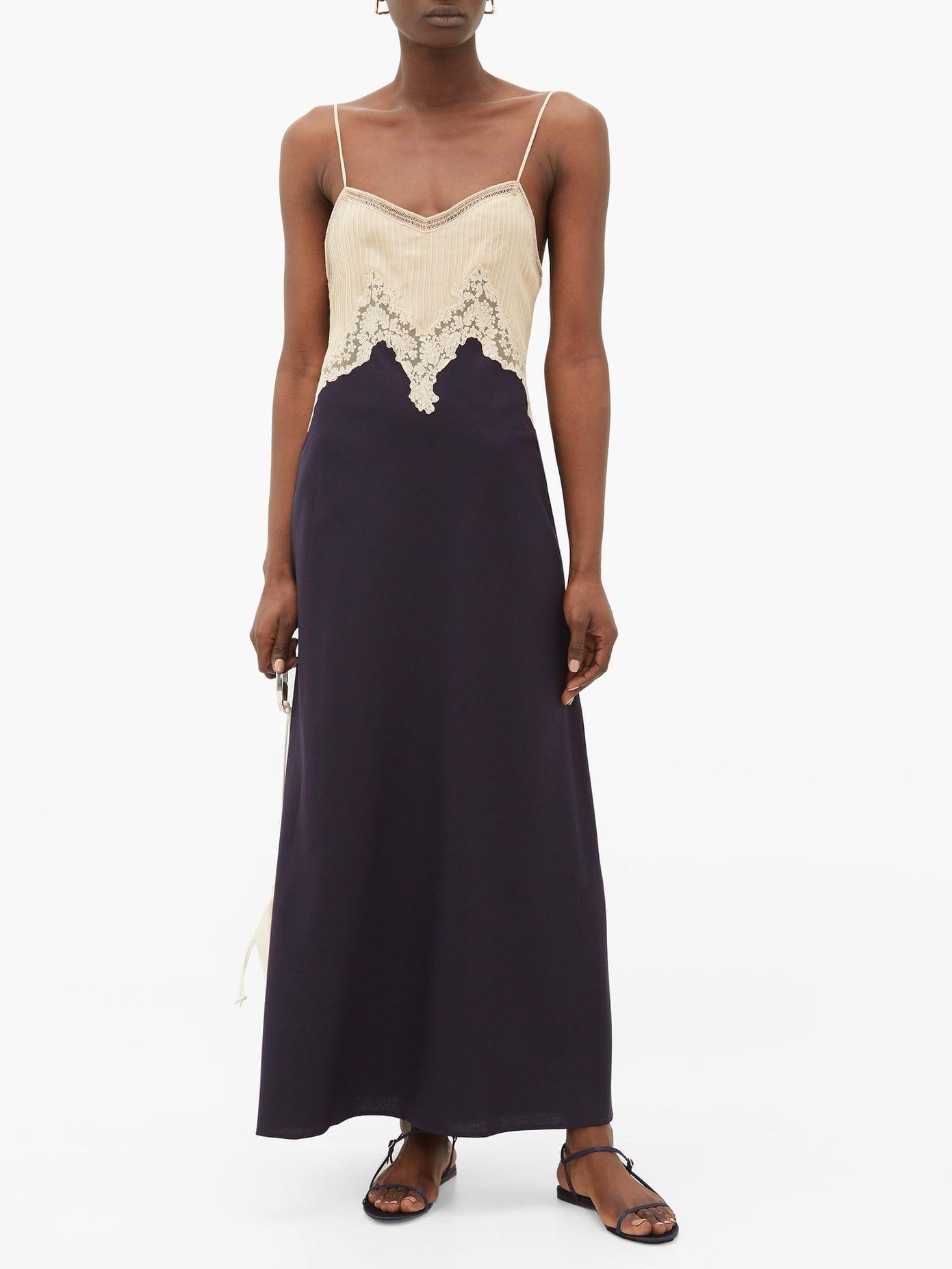 GABRIELA HEARST Adolphine Lace-trimmed Silk-blend Slip Dress