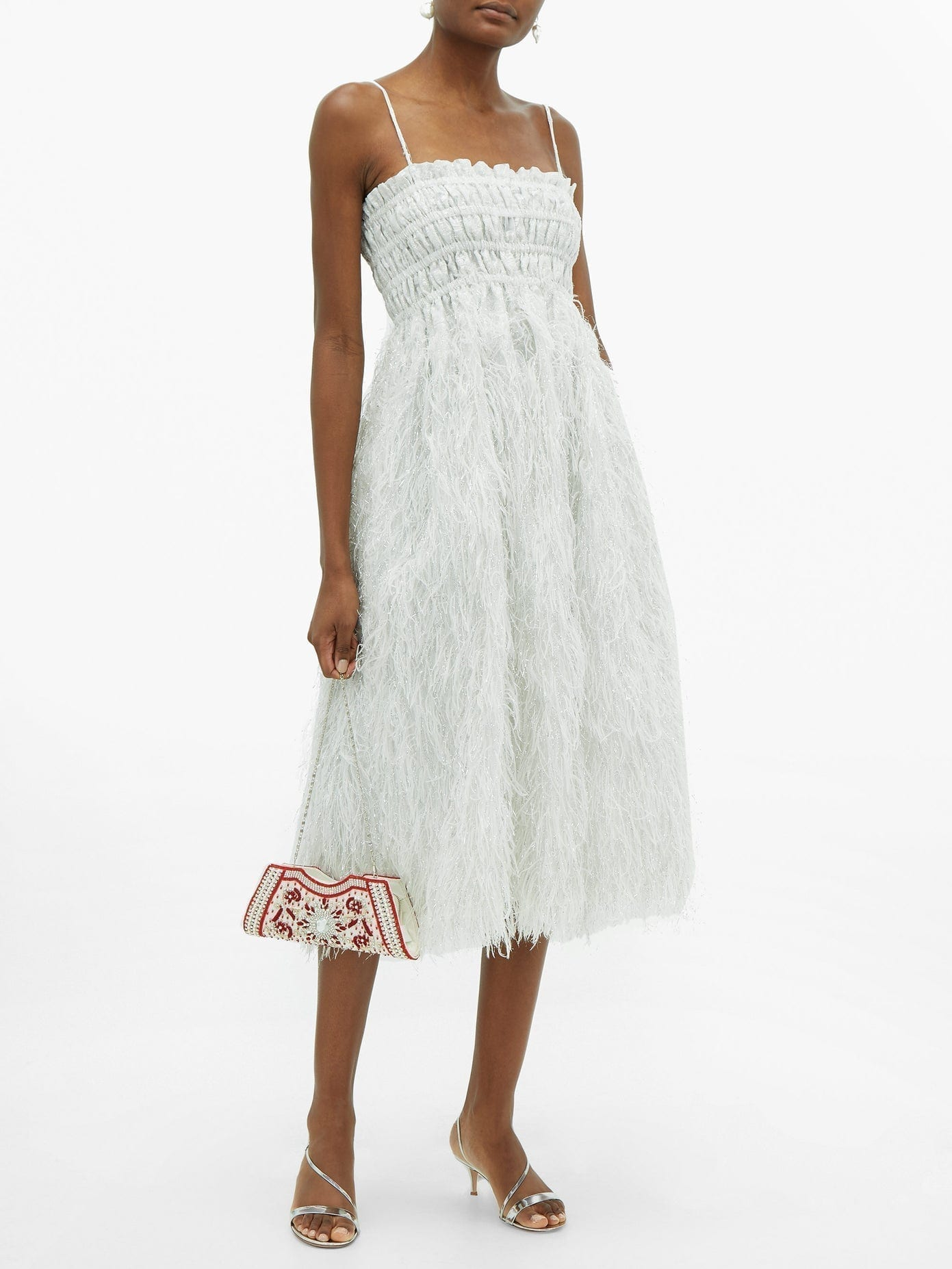 GANNI Feather-trimmed Shirred Lamé Midi Dress