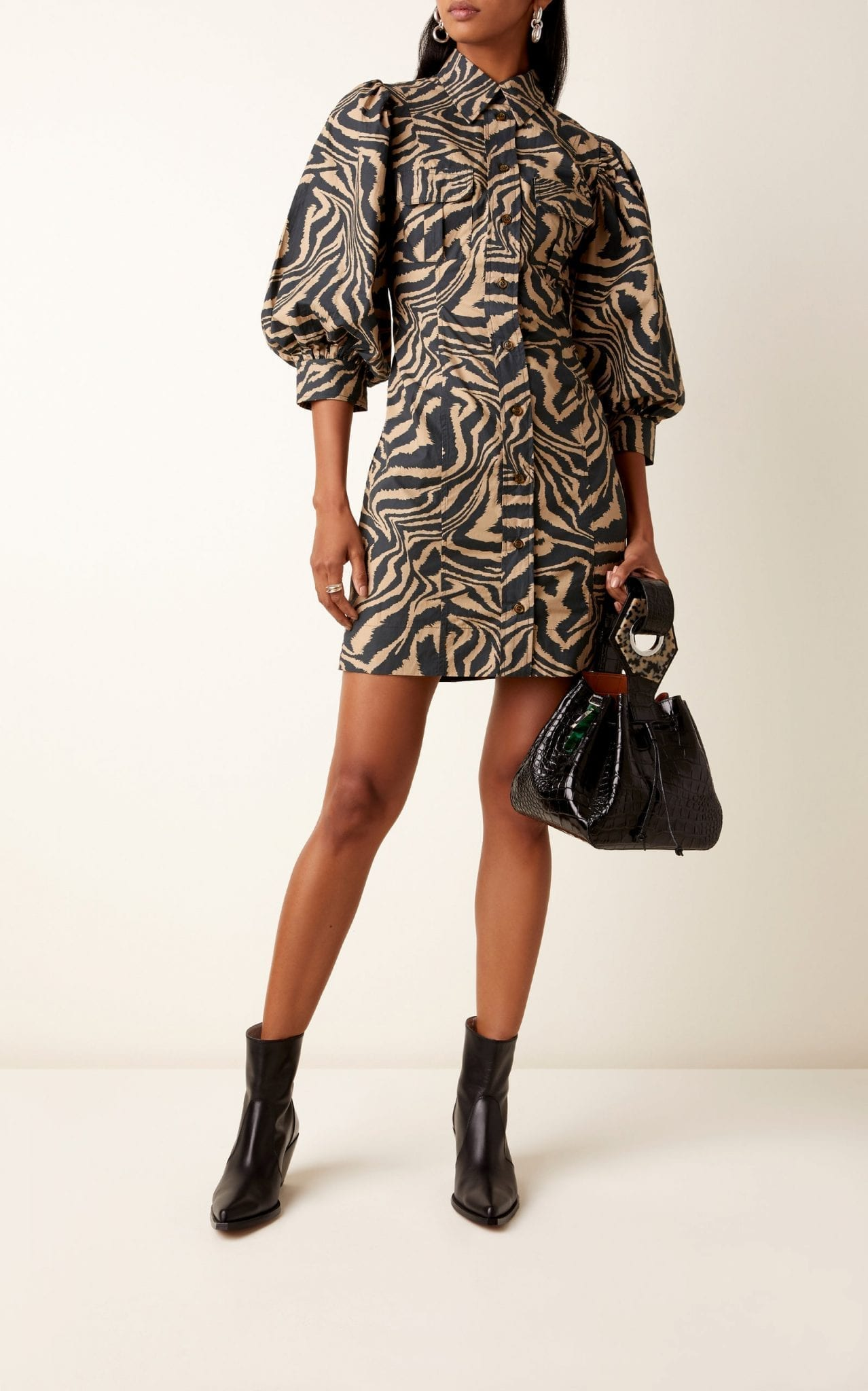 GANNI Zebra-Print Poplin Mini Dress