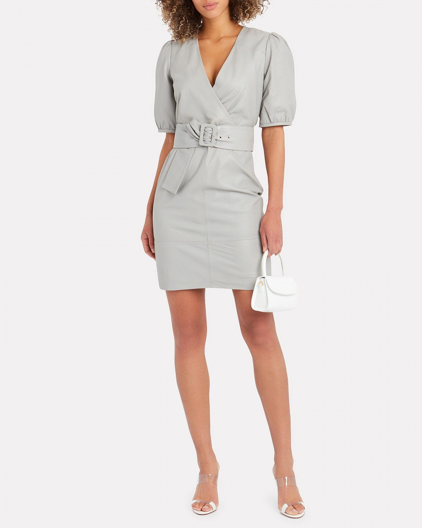 GESTUZ Walma Leather Wrap Dress