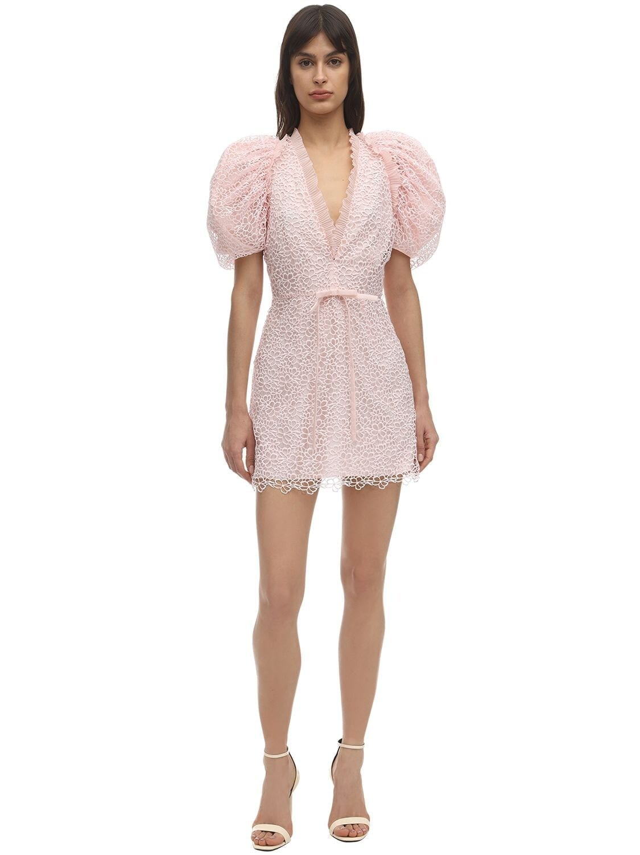 GIAMBA Macramé Puffed Mini Dress