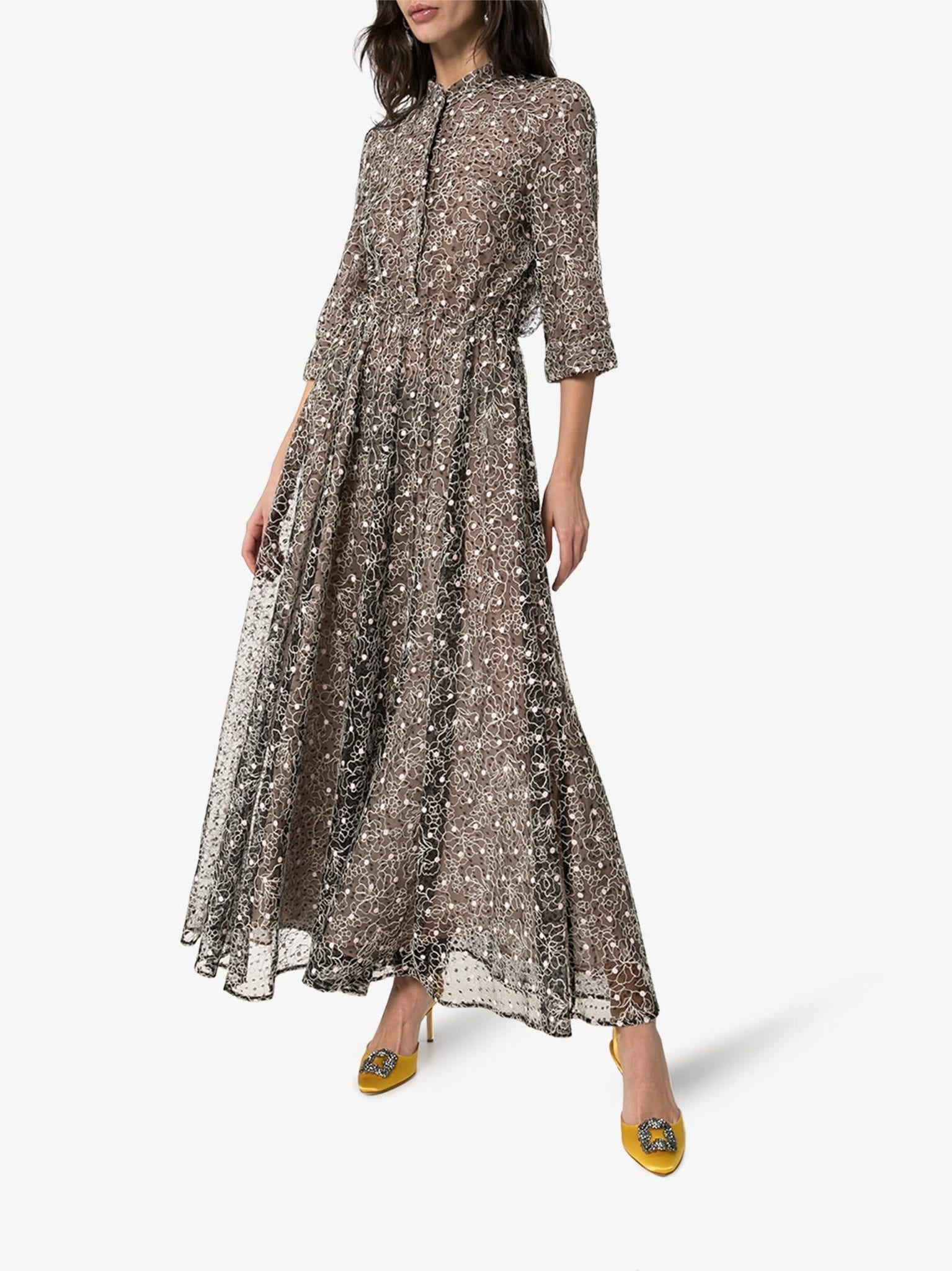 GIAMBATTISTA VALLI Floral Lace Maxi Dress