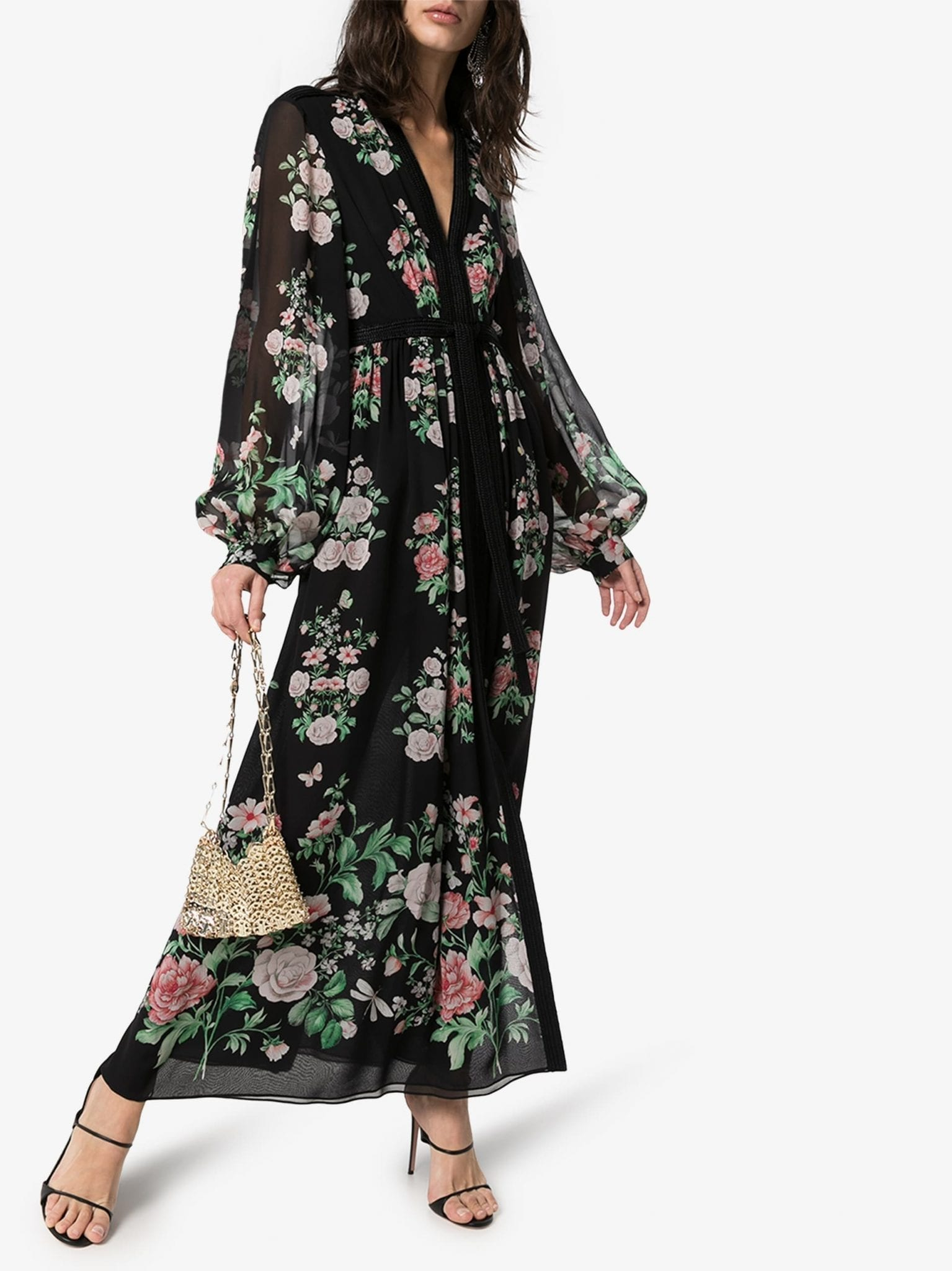 GIAMBATTISTA VALLI Floral Print Silk Maxi Dress