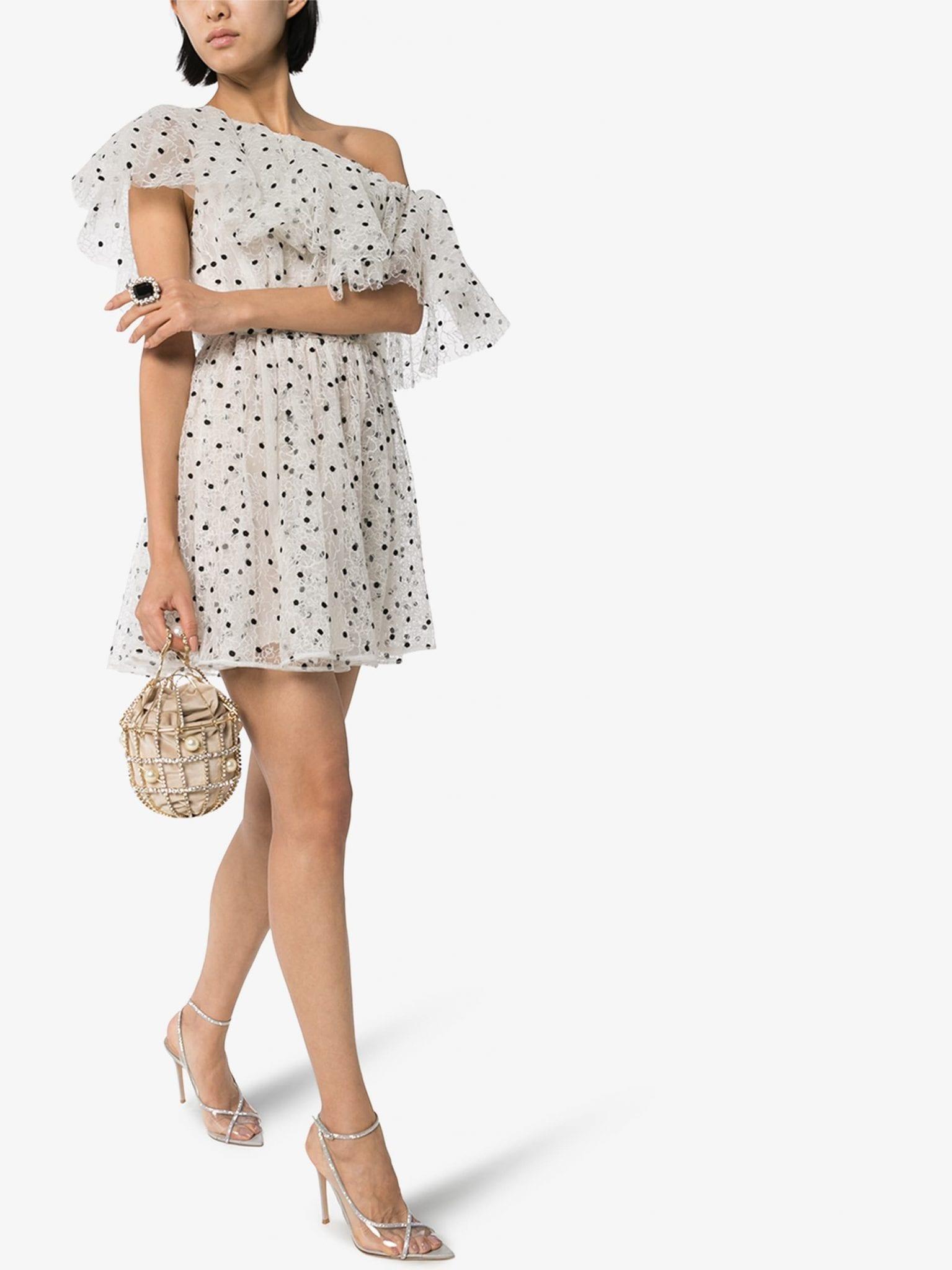 GIAMBATTISTA VALLI One Shoulder Polka Dot Mini Dress