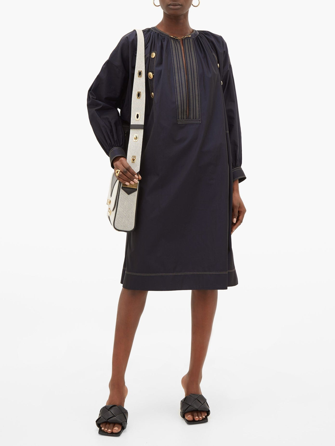 GIVENCHY Sailor Chain-neck Cotton-poplin Dress