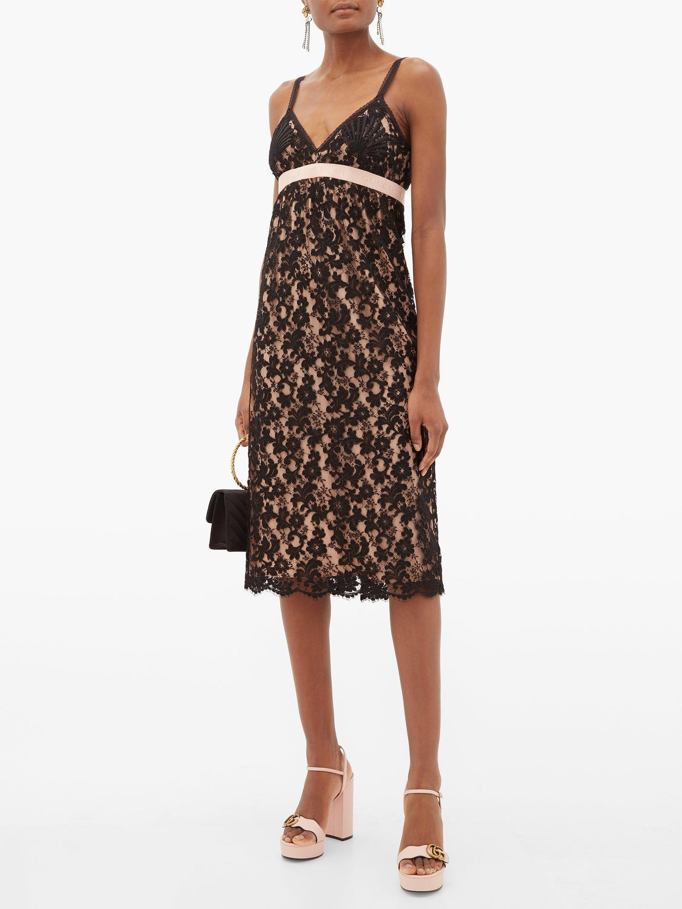 GUCCI Embroidered Floral-lace Slip Dress
