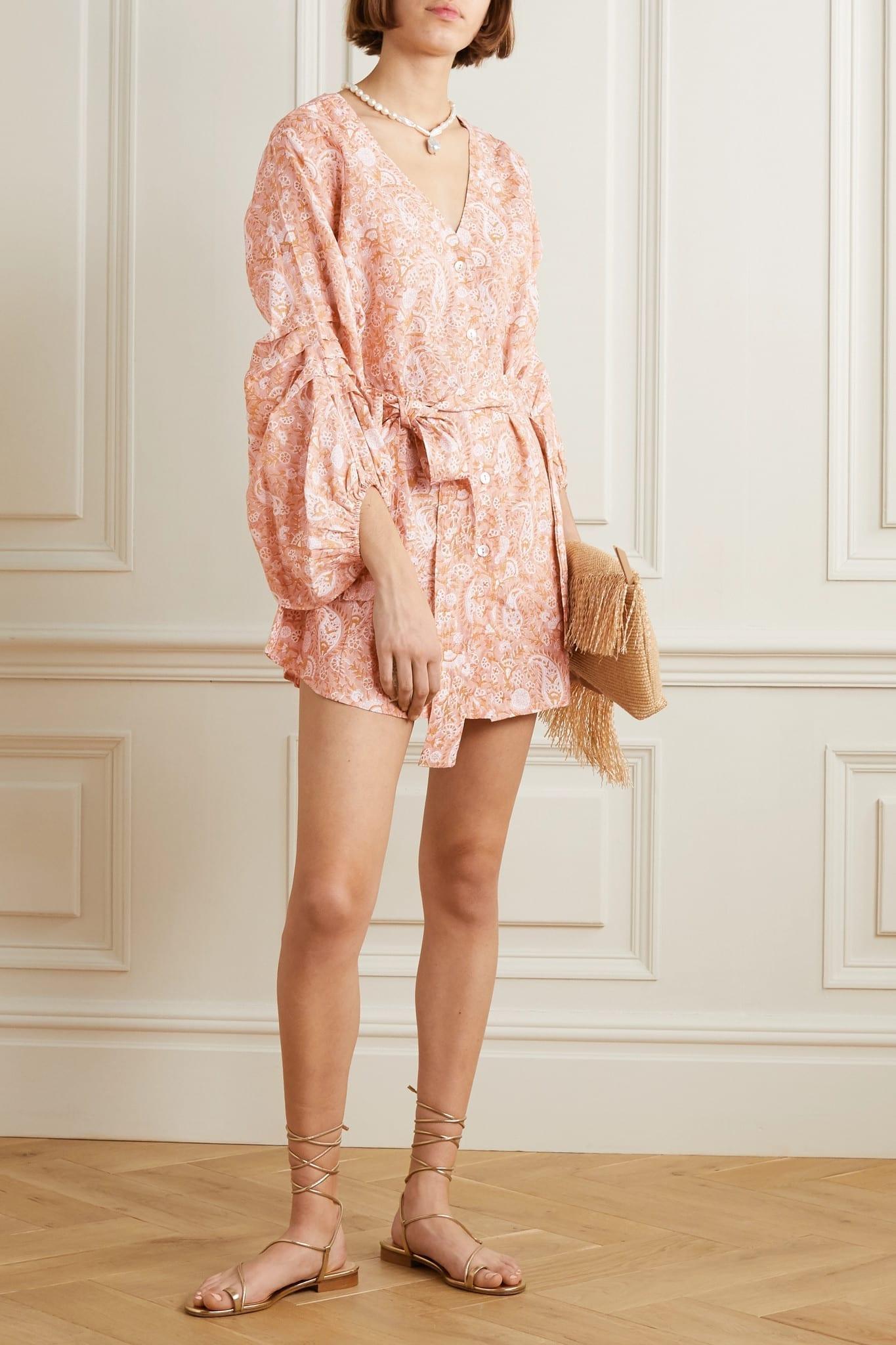HANNAH ARTWEA Rischia Belted Printed Linen Mini Dress