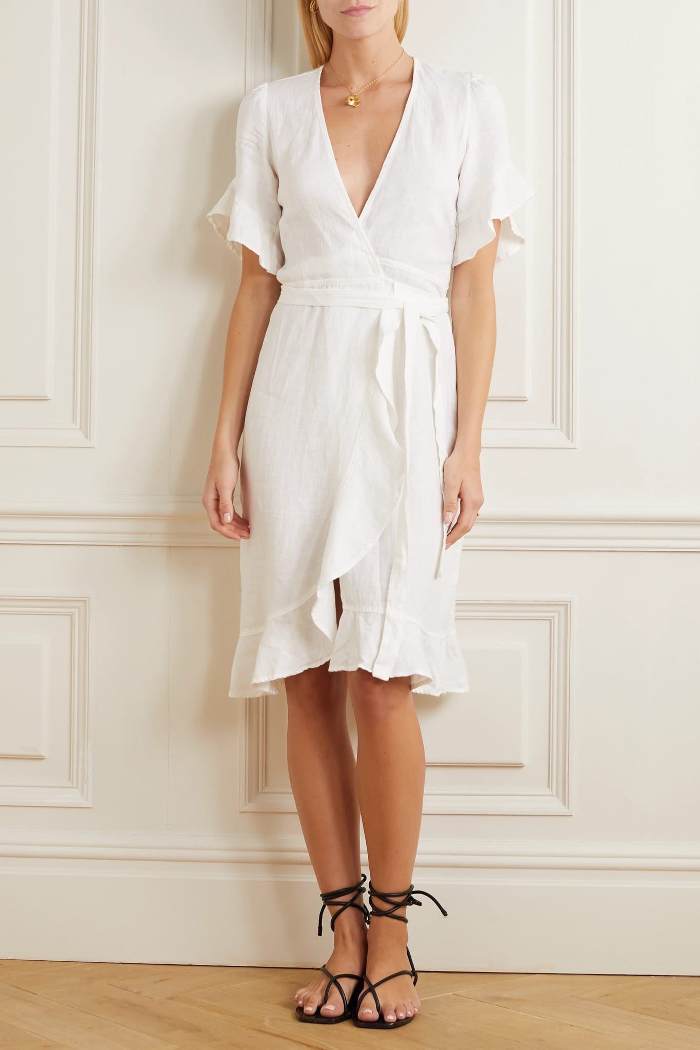 HONORINE Charlotte Ruffled Linen Wrap Dress