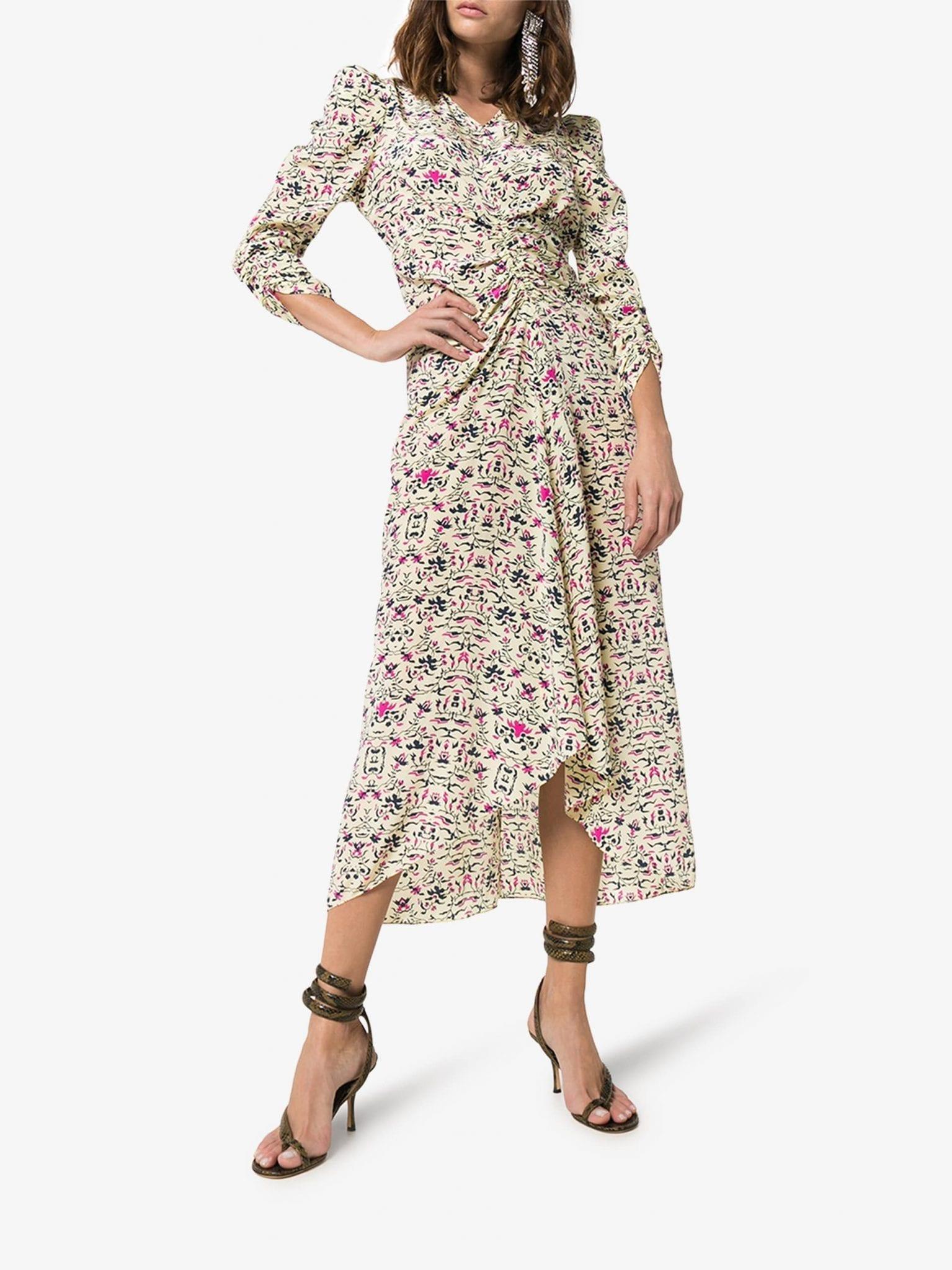 ISABEL MARANT Albi Graphic Floral Silk Dress