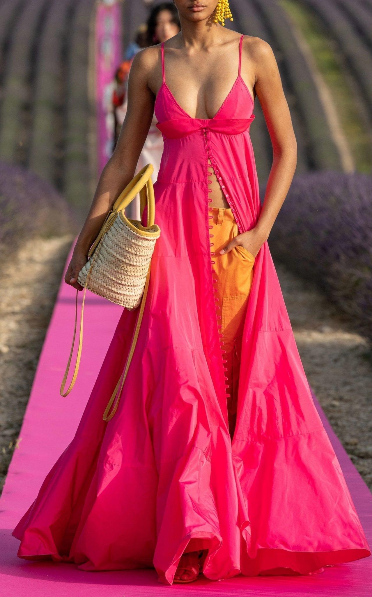 JACQUEMUS La Robe Manosque Tiered Chiffon Maxi Dress