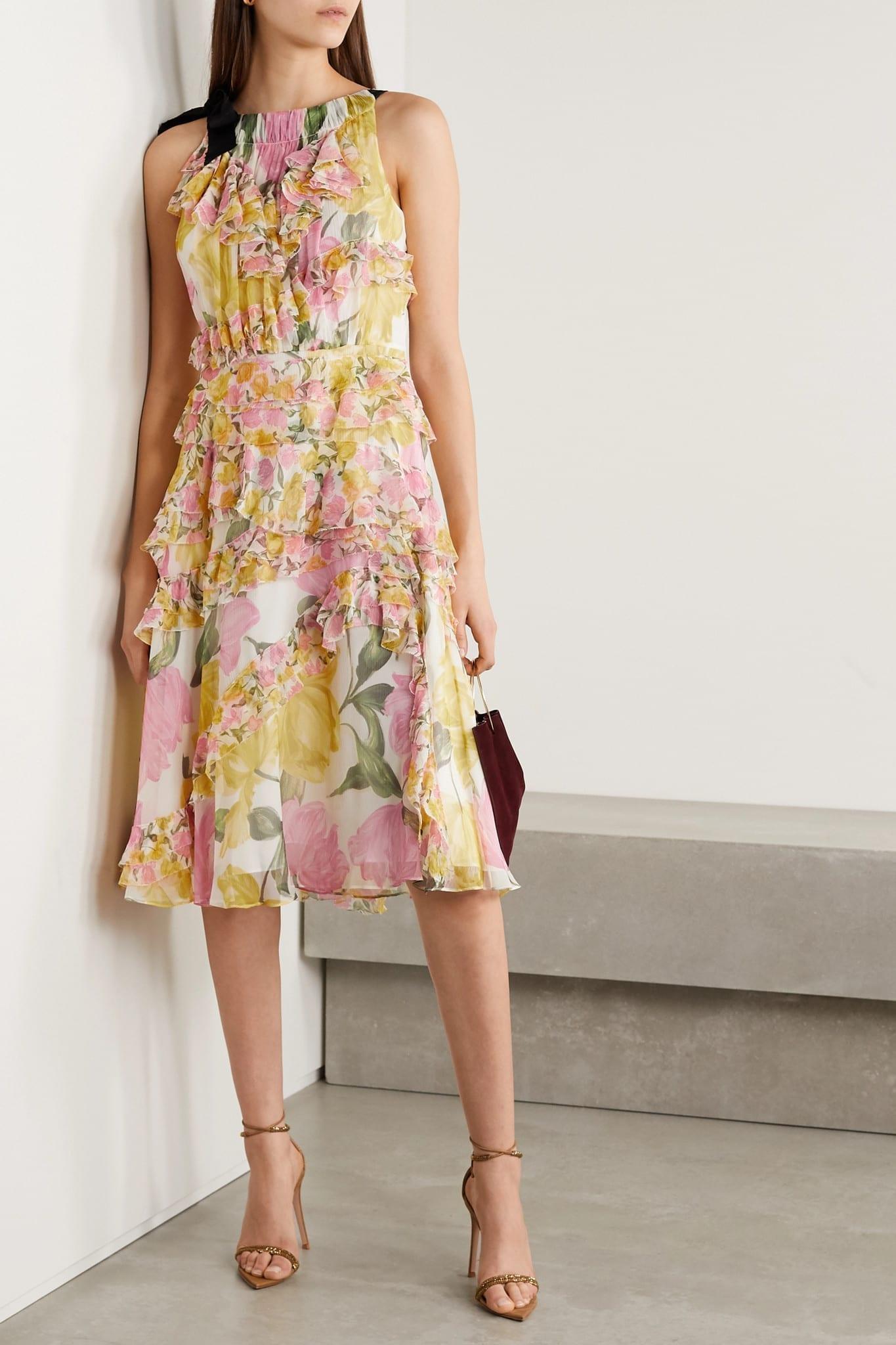 JASON WU COLLECTION Grosgrain-trimmed Ruffled Floral-print Silk-crepon Dress