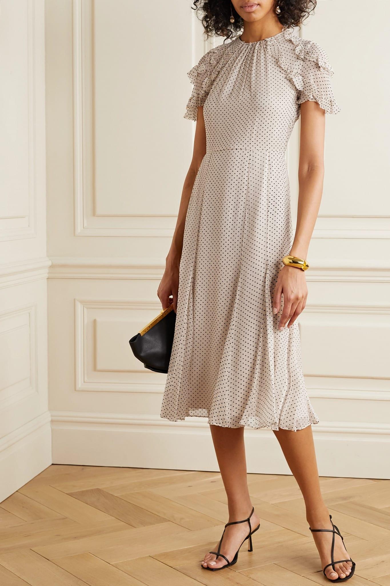 JASON WU COLLECTION Polka-dot Flocked Silk-blend Crinkled Chiffon Midi Dress