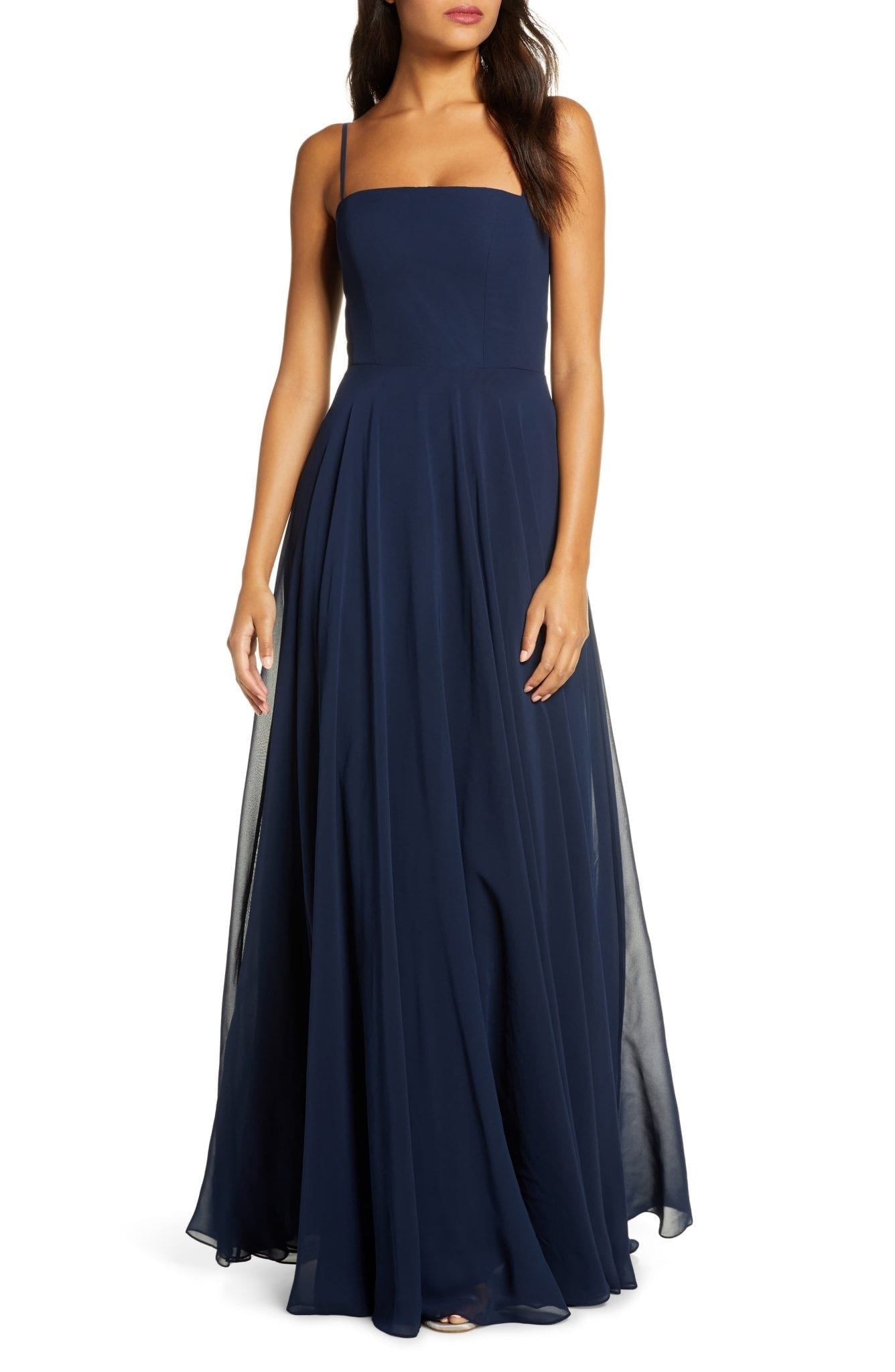 JENNY YOO Renee Chiffon Evening Dress