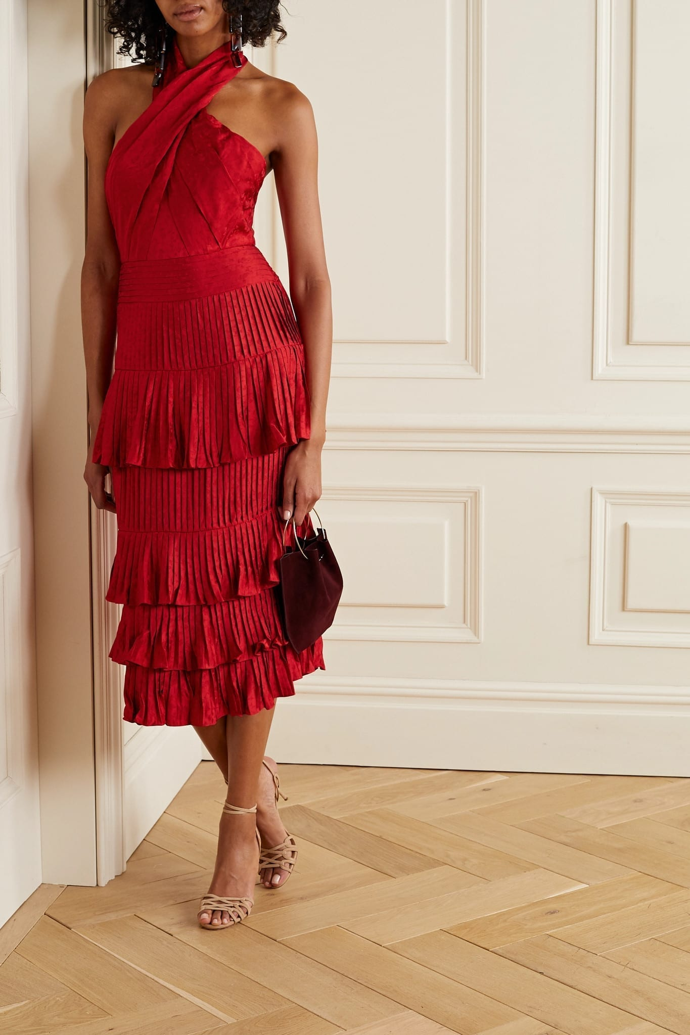 JOHANNA ORTIZ Eccentric Vibes Tiered Ruffled Floral Satin-jacquard Midi Dress
