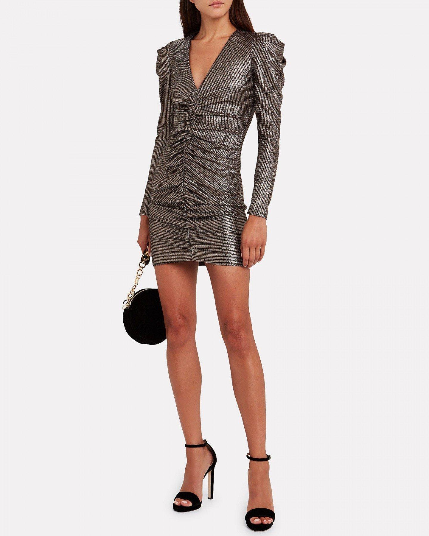 JONATHAN SIMKHAI Lamé Puff Sleeve Mini Dress