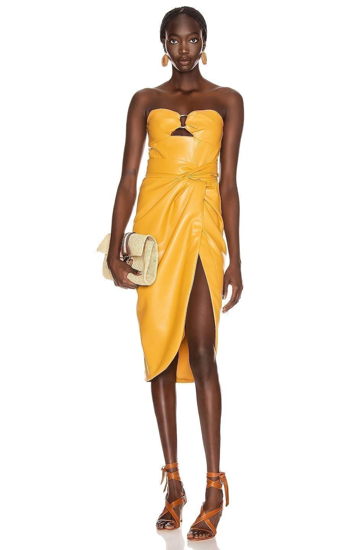 JONATHAN SIMKHAI Vegan Leather Bustier Dress