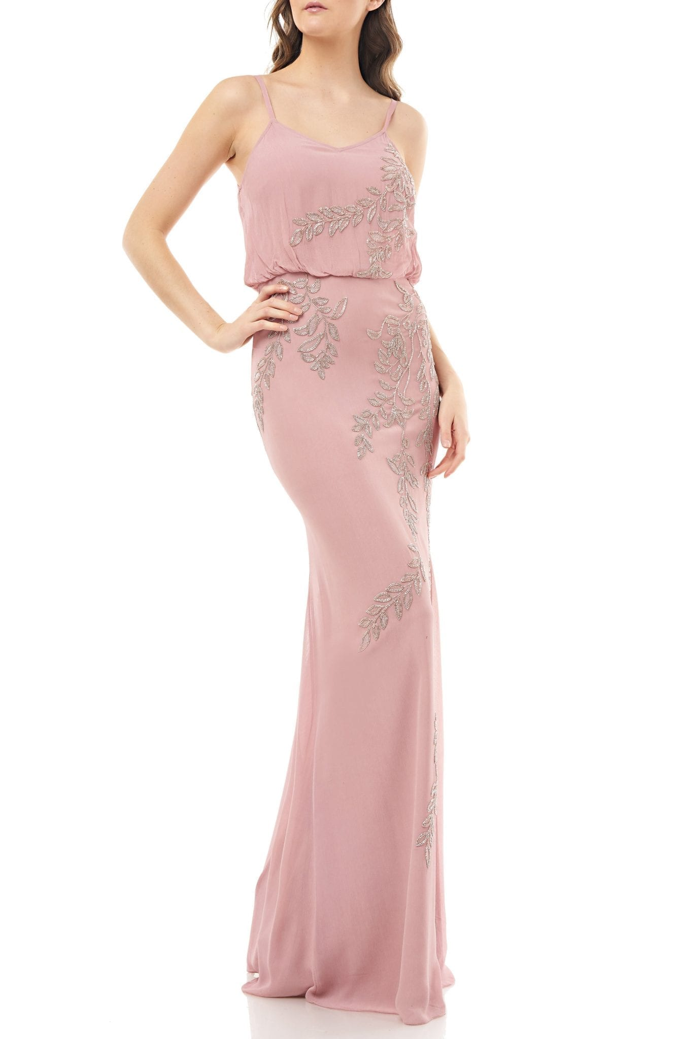 JS COLLECTIONS Beaded Blouson Cami Mermaid Gown