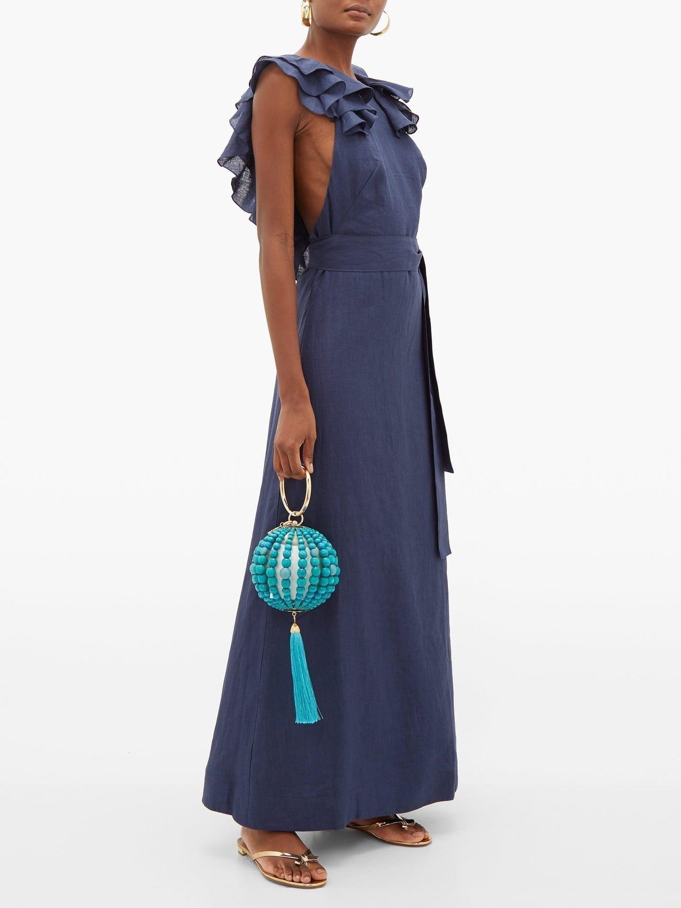 KALITA Eros Waist-tie Ruffled Linen Maxi Dress