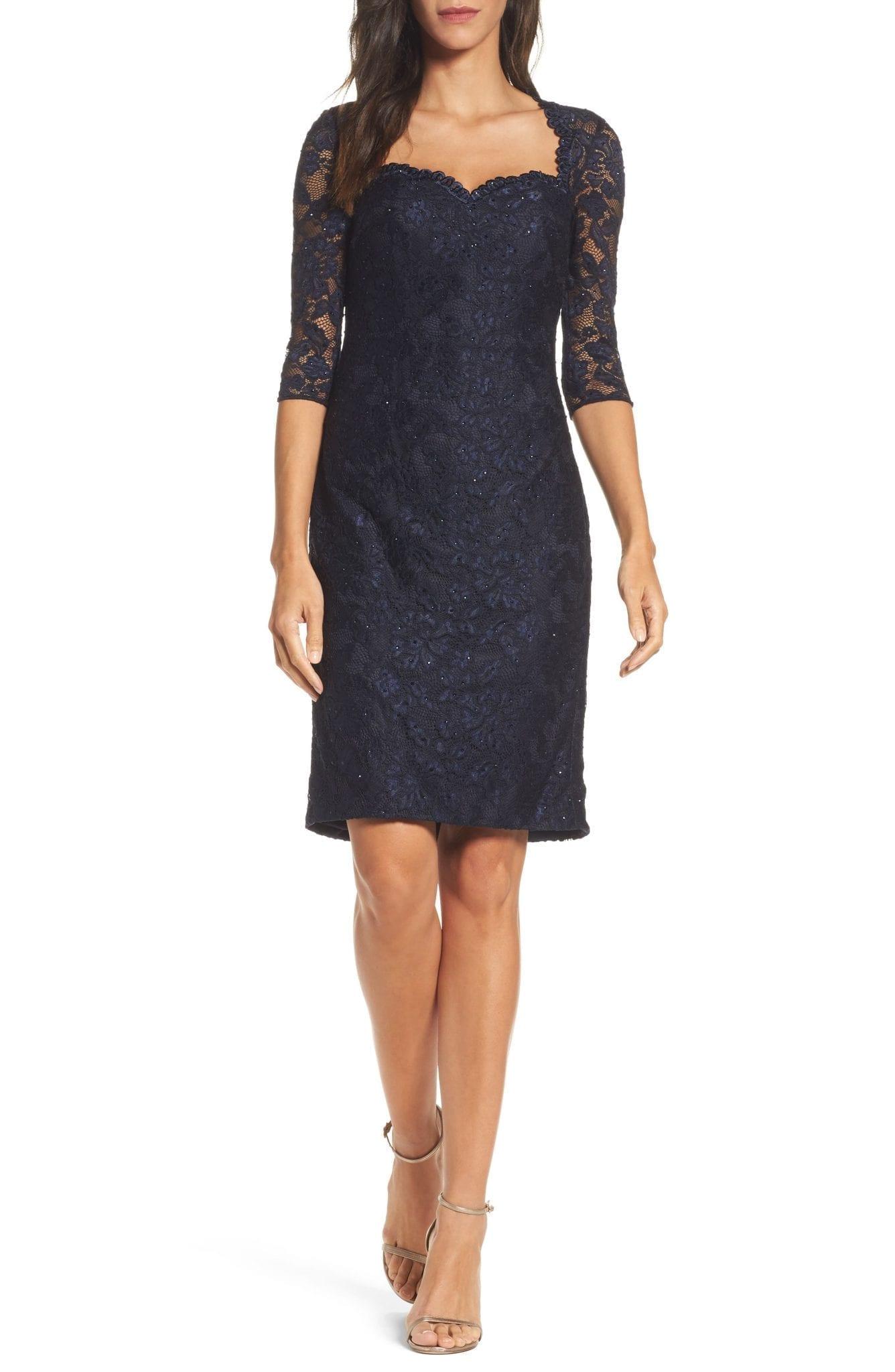 LA FEMME Sweetheart Lace Sheath Dress
