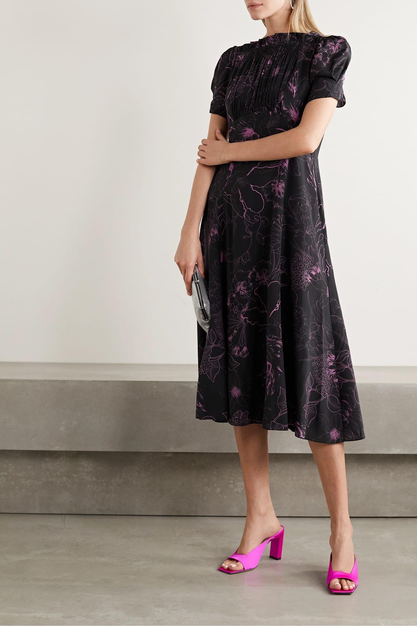 LES RÊVERIES Floral-print Silk Crepe De Chine Midi Dress