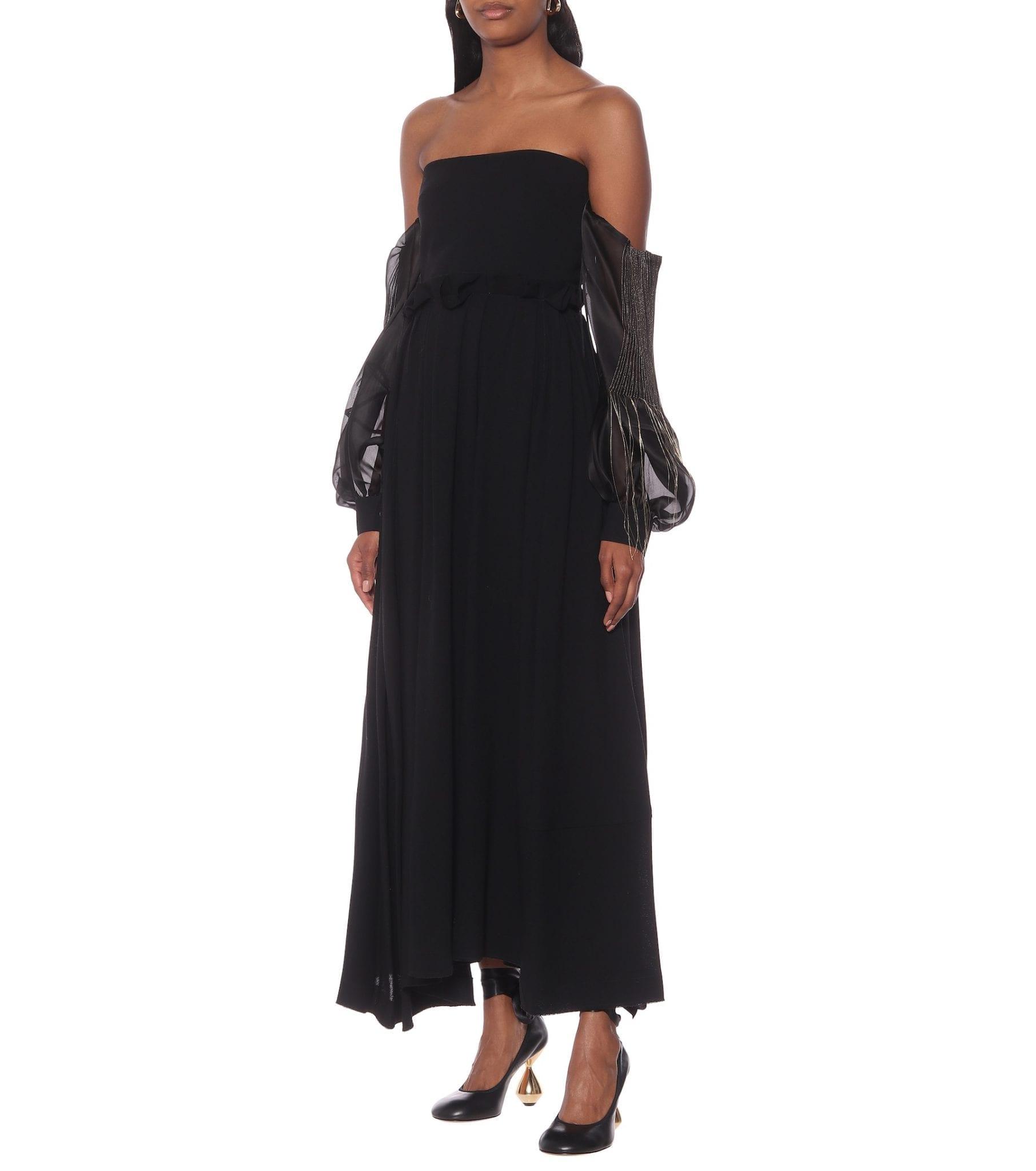 LOEWE Wool-Crêpe Off-The-Shoulder Gown