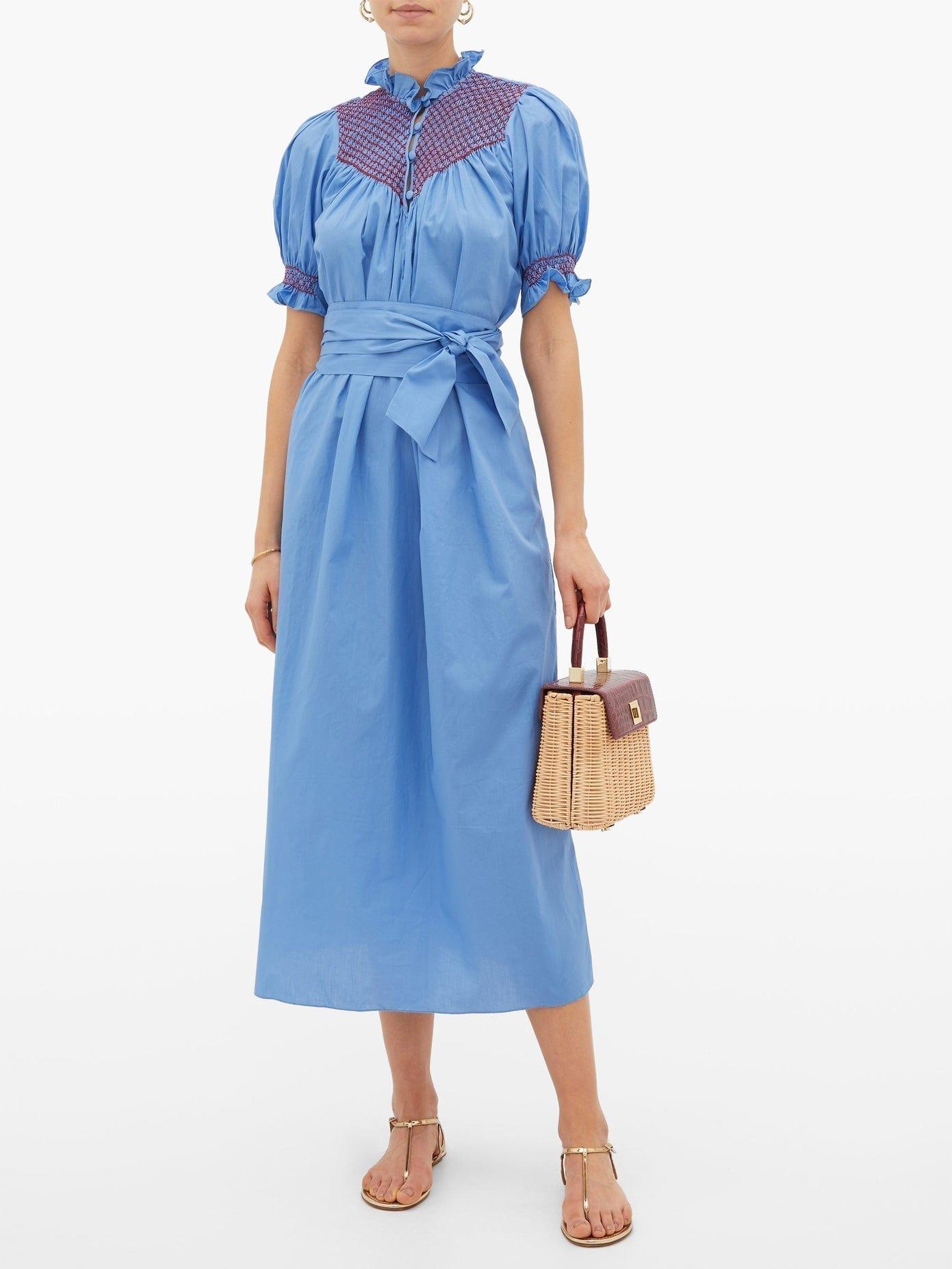 LORETTA CAPONI Elena Belted Smocked Cotton-poplin Midi Dress