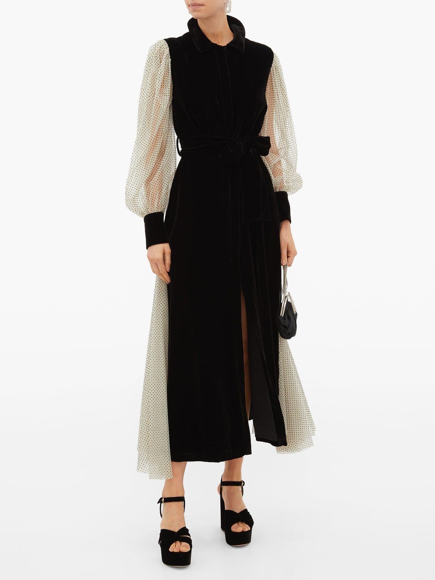 LORETTA CAPONI Holly Polka-Dot Tulle-Sleeve Velvet Dress