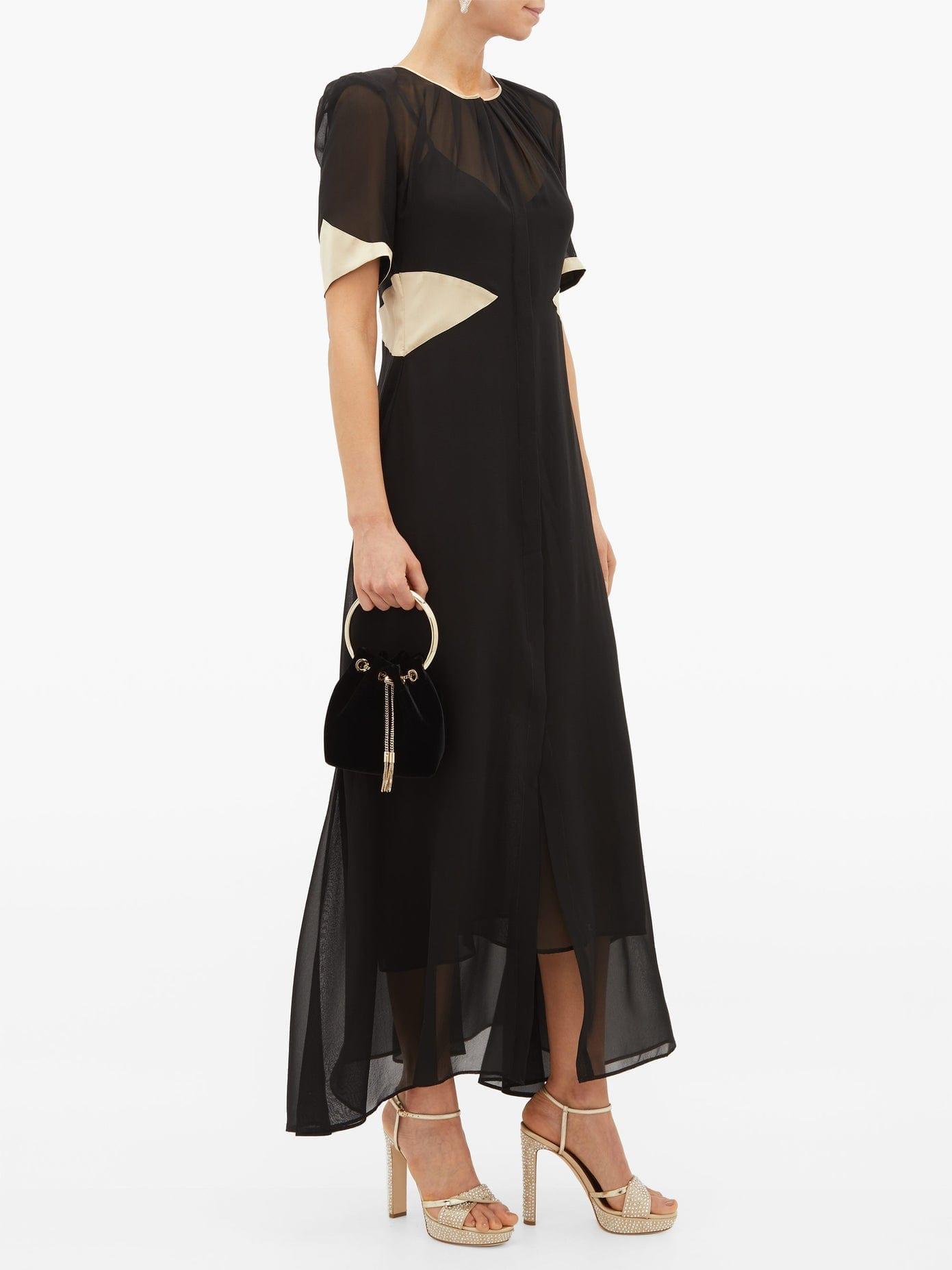 LORETTA CAPONI Lili Satin-Trimmed Silk-Georgette Dress