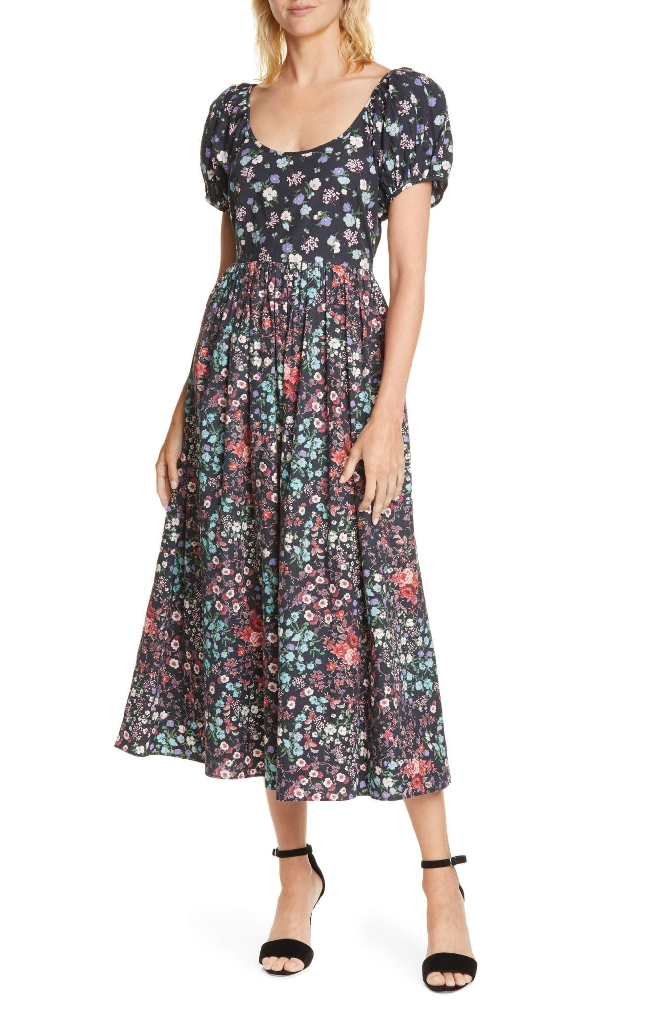 LOVESHACKFANCY Lais Floral Puff Sleeve Cotton A-Line Dress