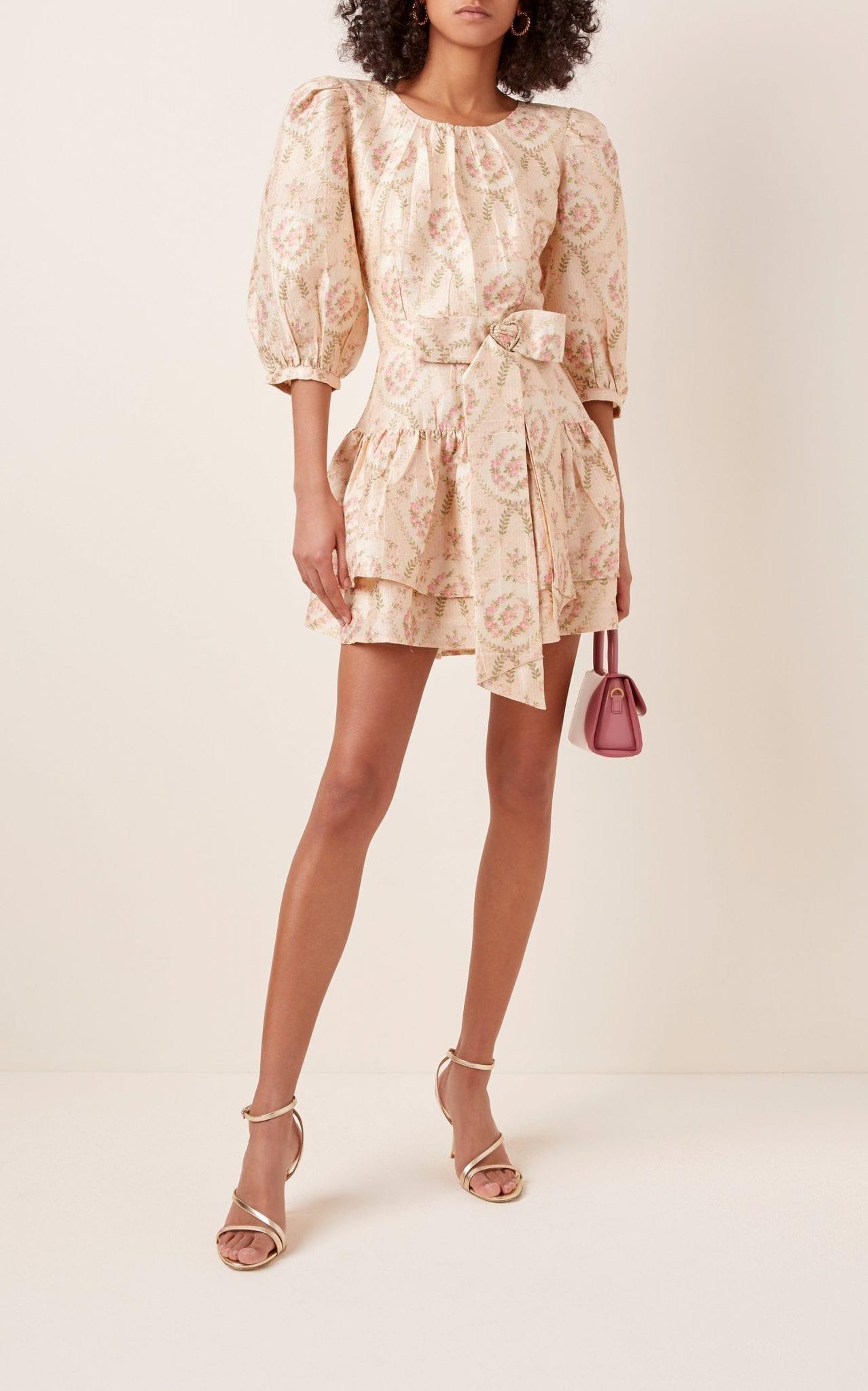 LOVESHACKFANCY Pearla Tie-Detailed Floral-Print Silk Mini Dress