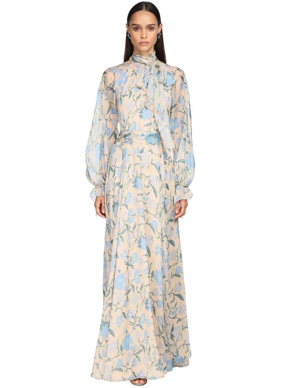 LUISA BECCARIA Printed Chiffon Bow Collar Long Dress