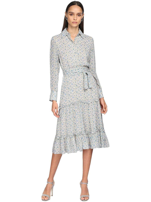 LUISA BECCARIA Printed Georgette Shirt Dress