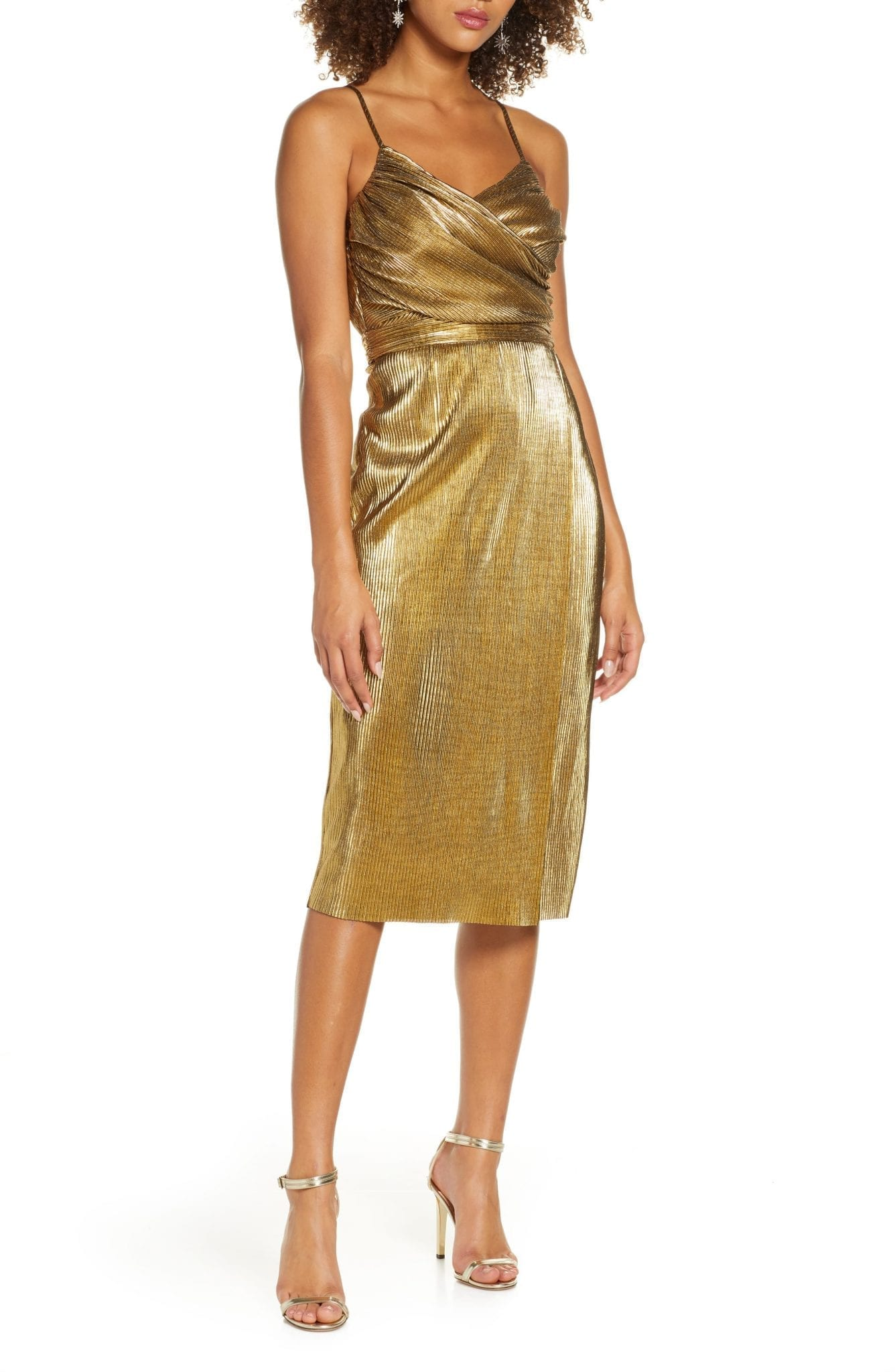 LULUS Love & Luxury Metallic Plissé Cocktail Dress