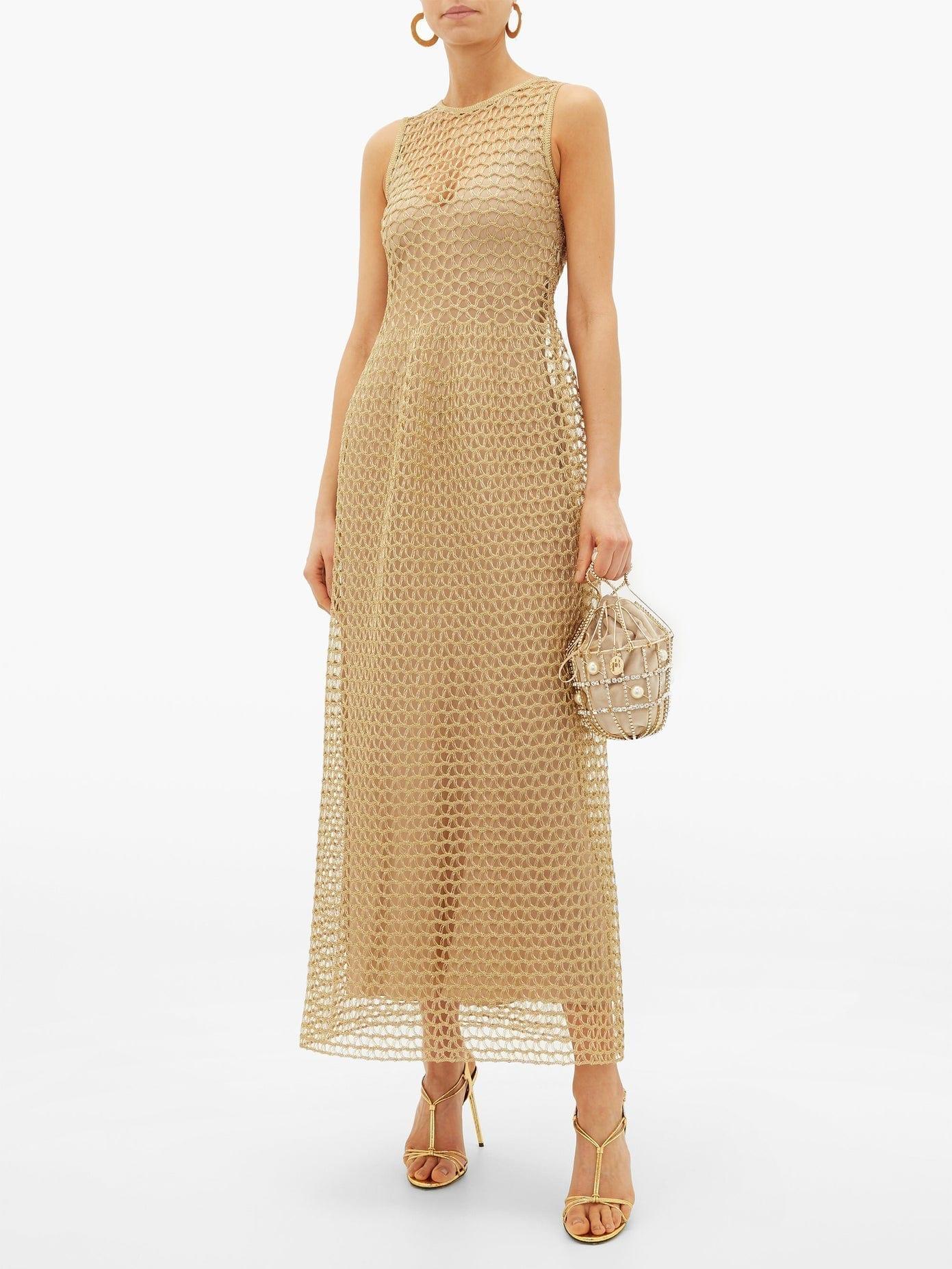 MAISON RABIH KAYROUZ Metallic Open-Knit Gown