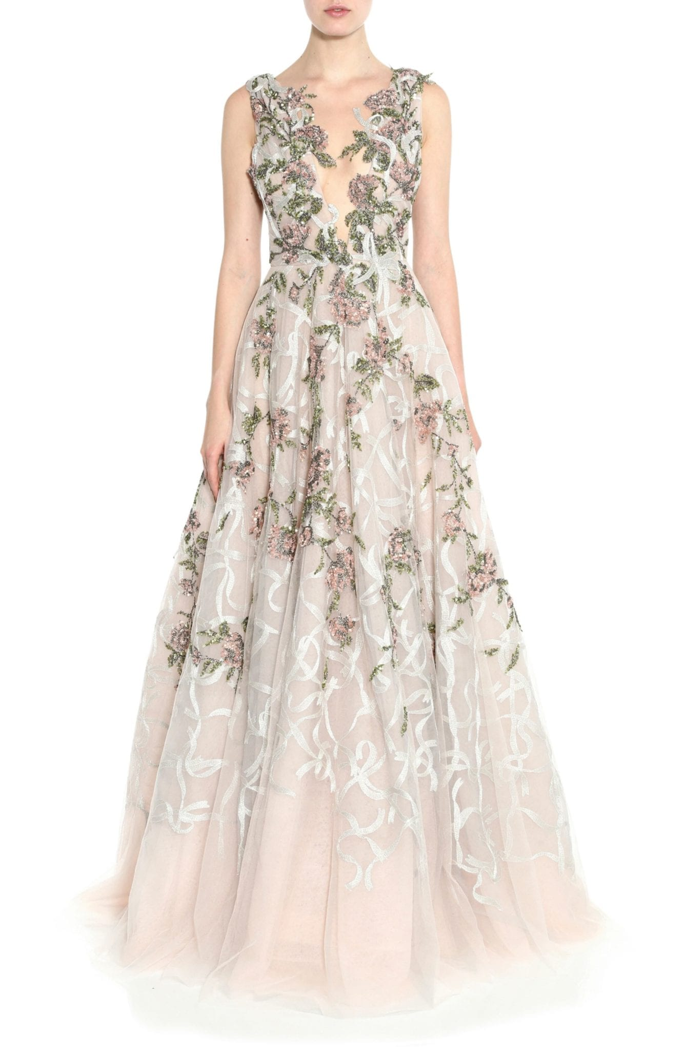 MARCHESA Floral Sequin Silk Tulle Gown